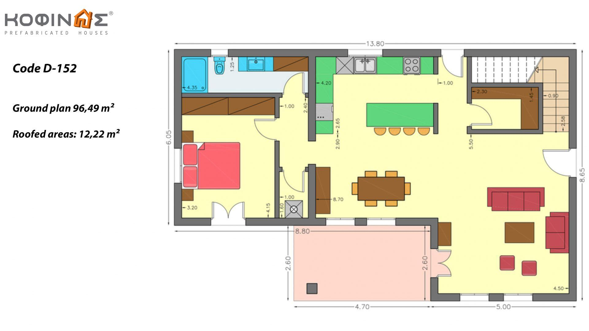 2-story house D-152, total surface of 152,15 m²,roofed areas 12.22 m²,balconies 40.83 m²