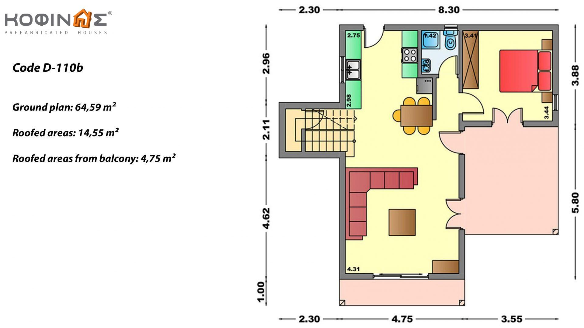 2-story house D-110b, total surface of 110,72 m²,roofed areas 42,57 m²,balconies 23,27 m²