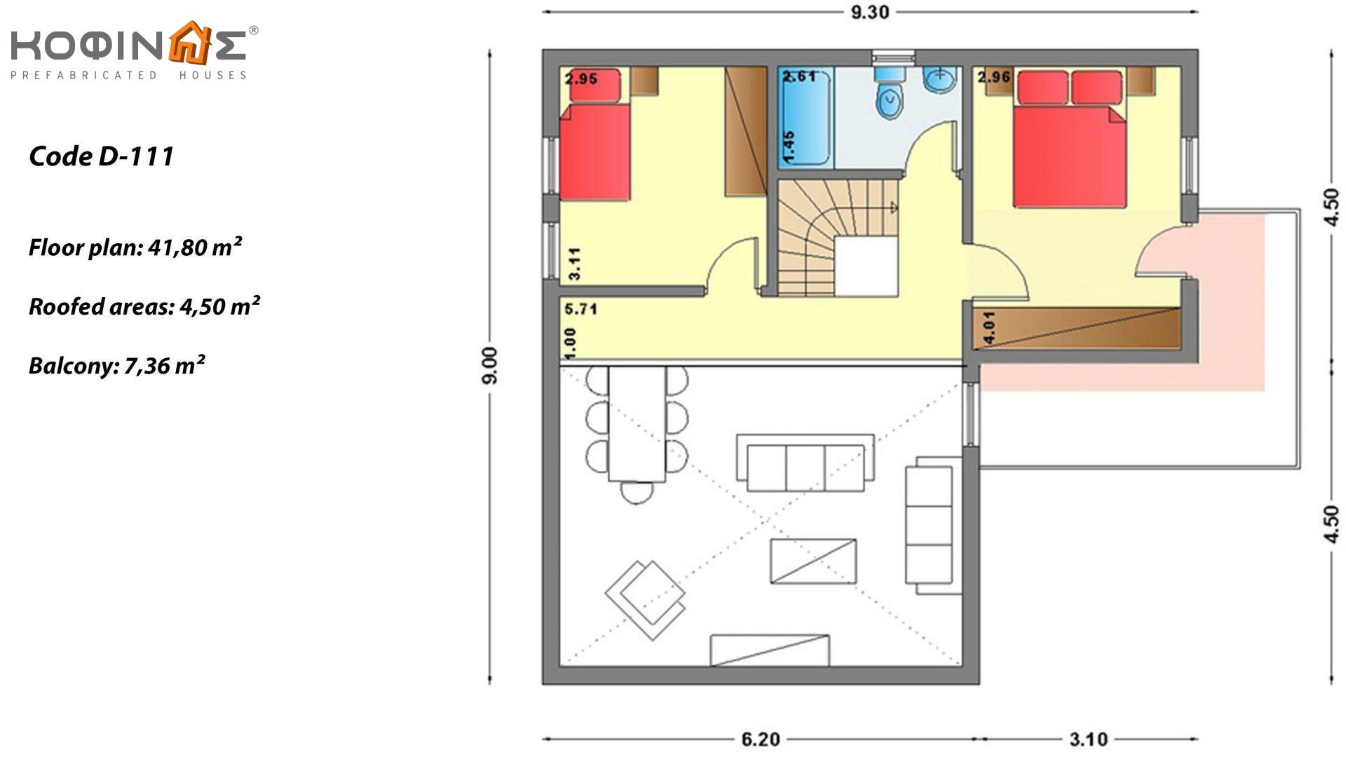 2-story house D-111, total surface of 111,80 m²,roofed areas 11,94 m²,balconies 7,36 m²