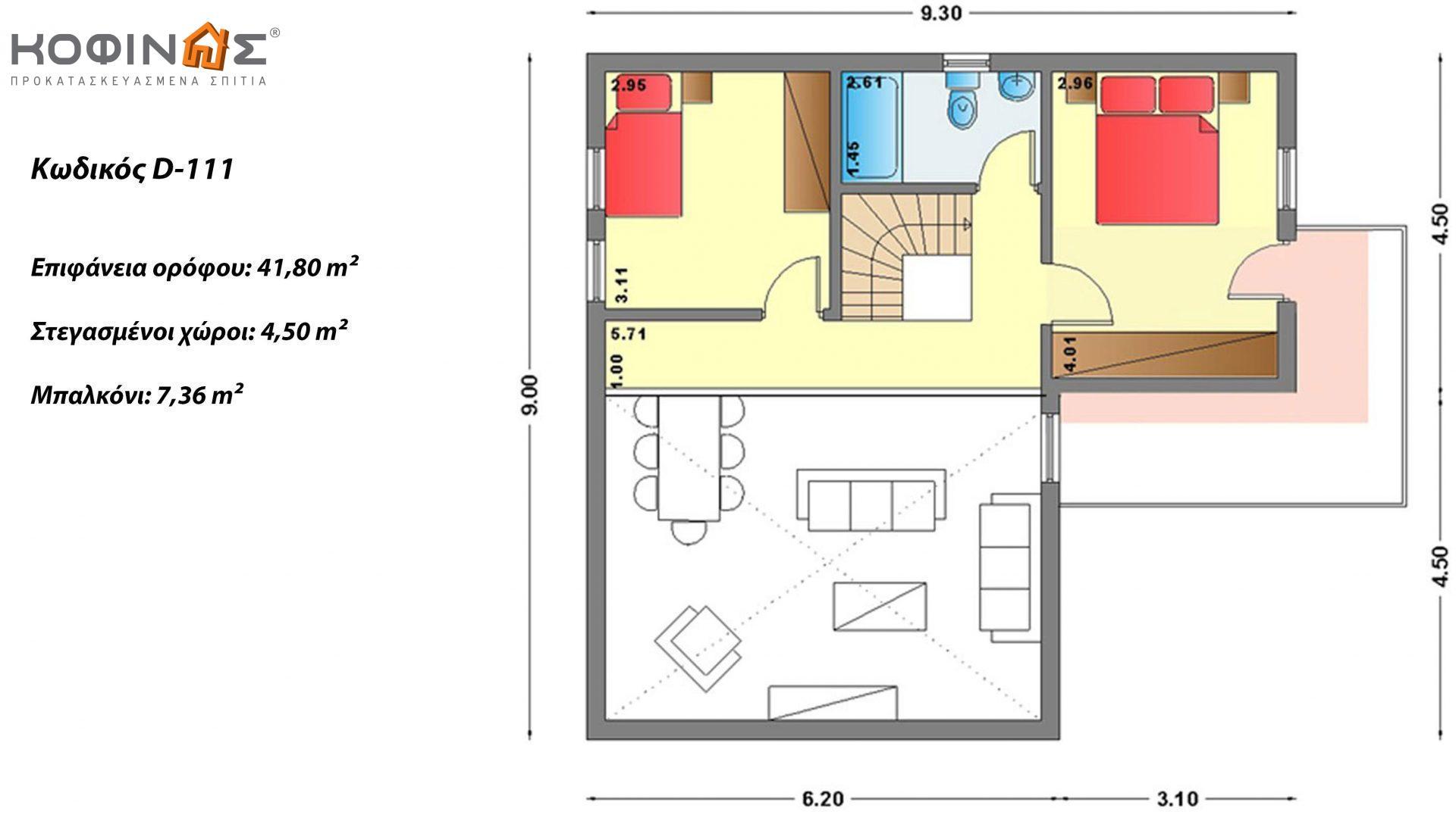 Διώροφη Κατοικία D-111, συνολικής επιφάνειας 111,80 τ.μ. , συνολική επιφάνεια στεγασμένων χώρων 11.94 τ.μ., μπαλκόνια 7.36 τ.μ.