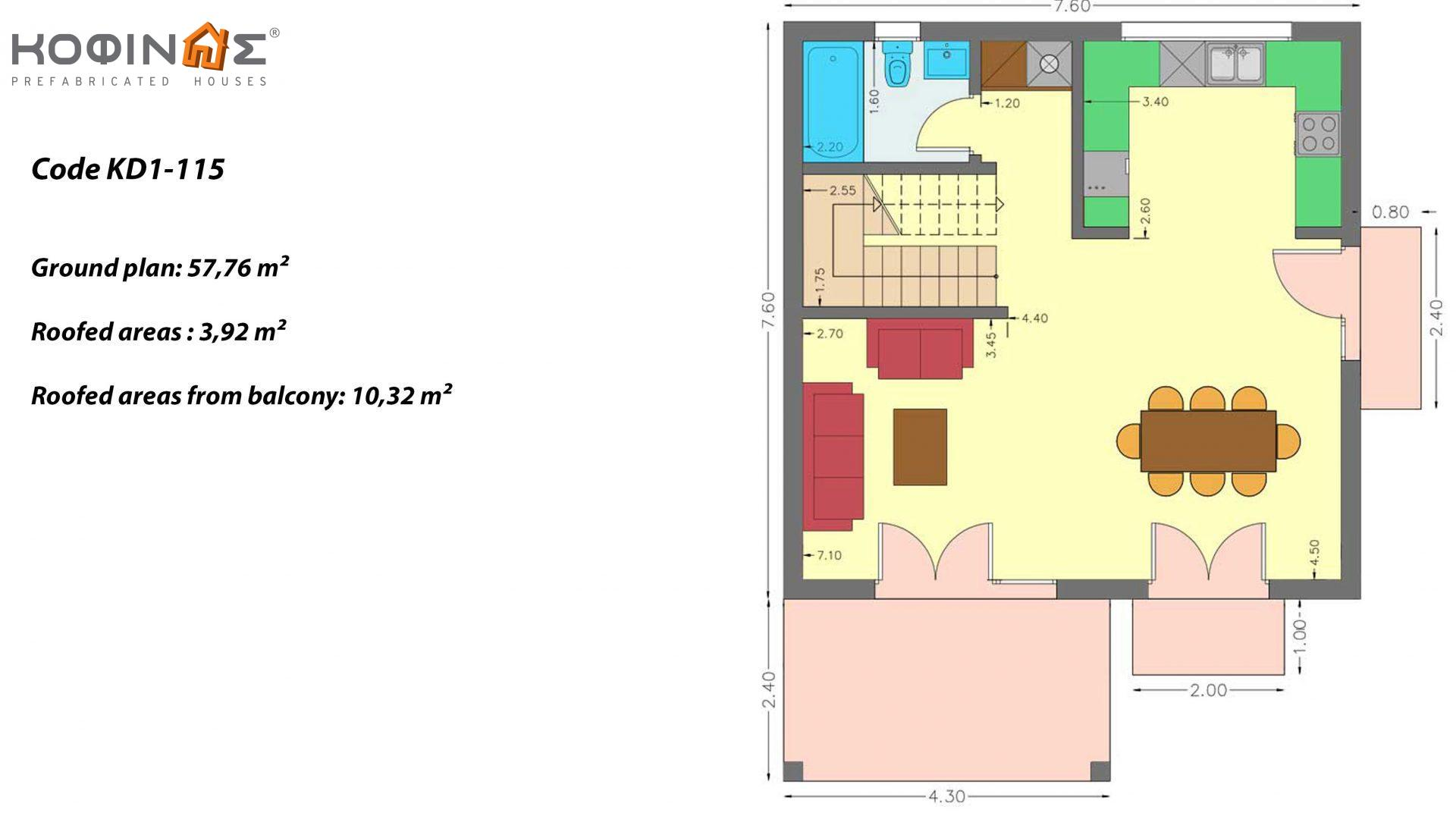 2-story house KD1-115, total surface of 115,52 m² ,roofed areas 24.56 m²,balconies 10.32 m²
