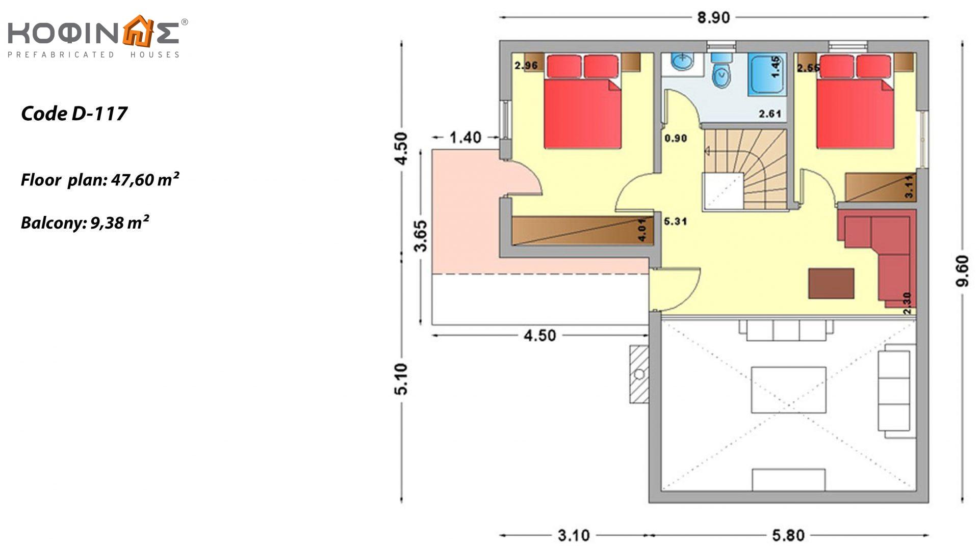 2-story house D-117, total surface of 117,20 m²,roofed areas 25,45 m²,balconies 9,38 m²