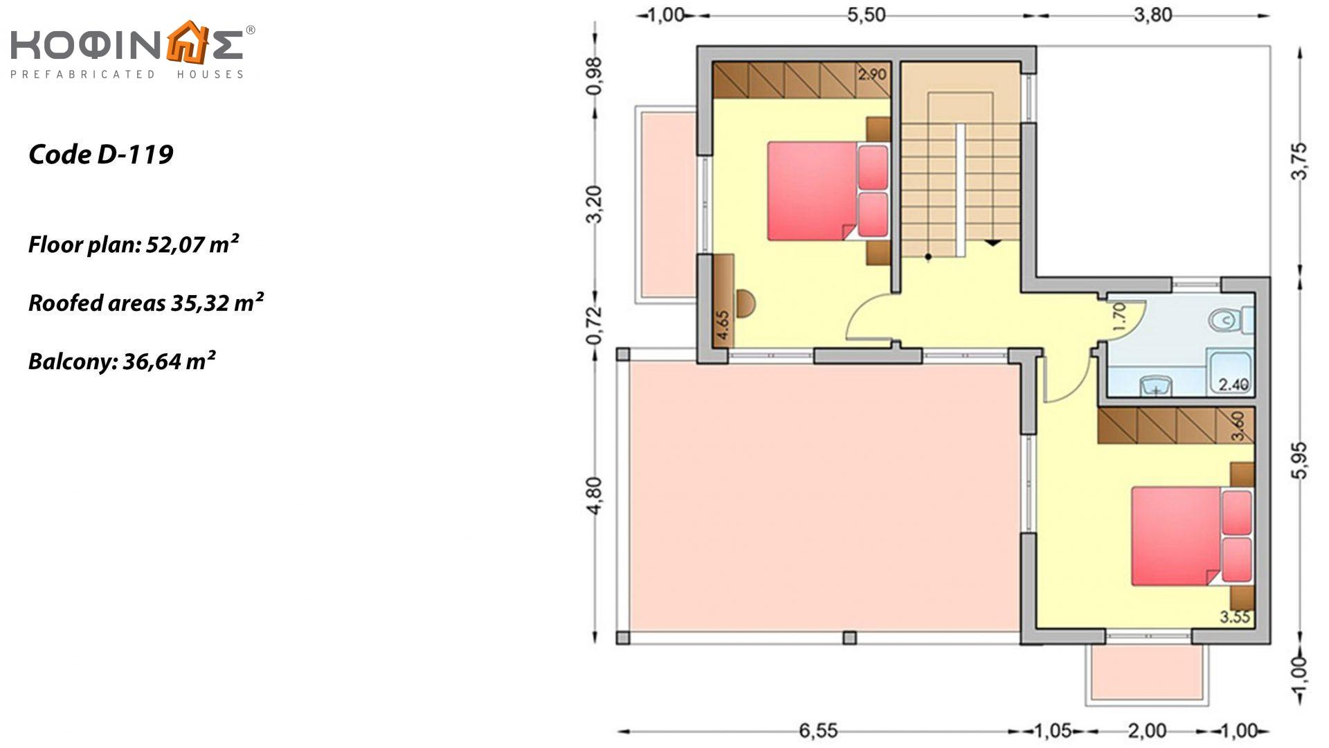 2-story house D-119, total surface of 119,35 m²,roofed areas 14,22 m²,balconies 10,30 m²