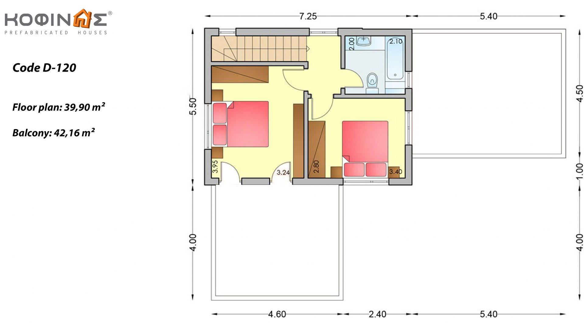 2-story house D-120, total surface of 120,20 m²,roofed areas 18,00 m²,balconies 42,16 m²