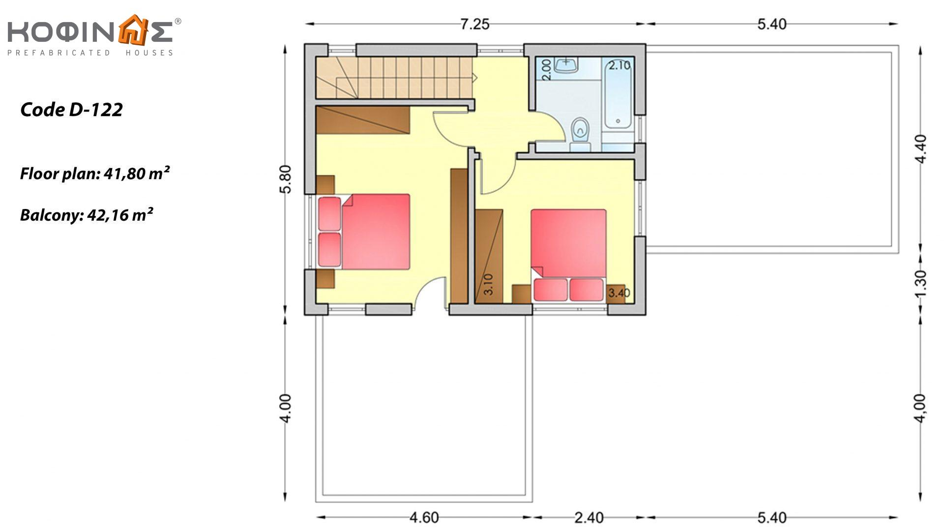 2-story house D-122, total surface of 122,60 m²,roofed areas 18,65 m²,balconies 42,16 m²