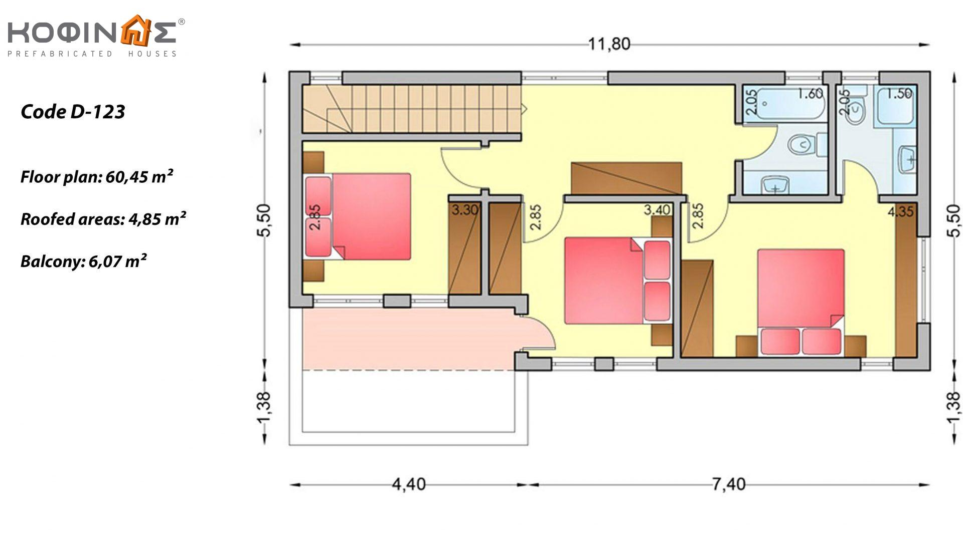 2-story house D-123, total surface of 123,30 m² ,roofed areas 11,42 m²,balconies 6,07 m²