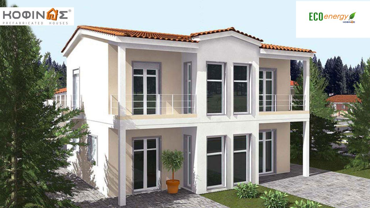 2-story house D-128, total surface of 128,40 m²,roofed areas 16.48 m²,balconies 7.44 m²0