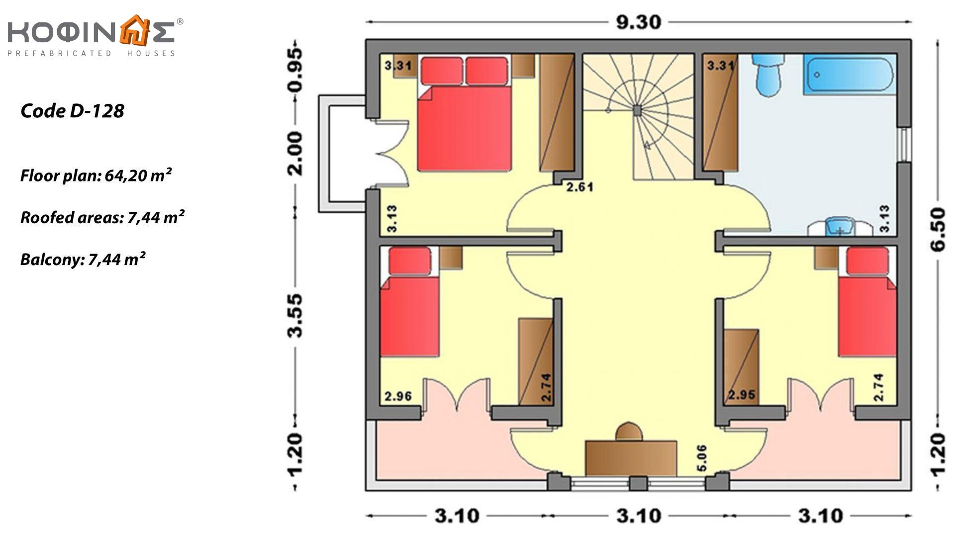2-story house D-128, total surface of 128,40 m²,roofed areas 16.48 m²,balconies 7.44 m²