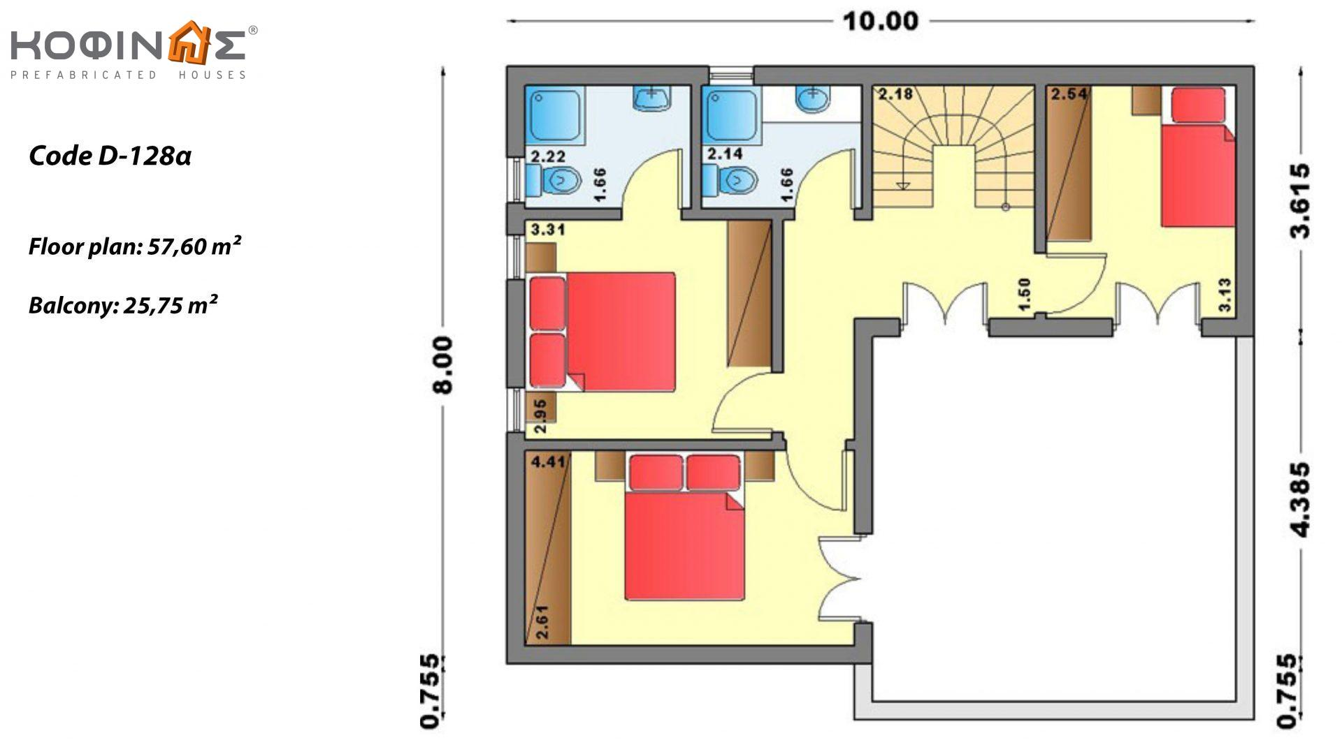 2-story house D-128a, total surface of 128,60 m²,roofed areas 14.37 m²,balconies 25.75 m²