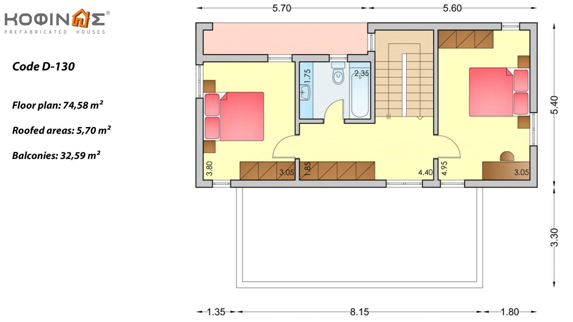 2-story house D-130, total surface of 130,2 m²,roofed areas 16.81 m²,balconies 32.59 m²