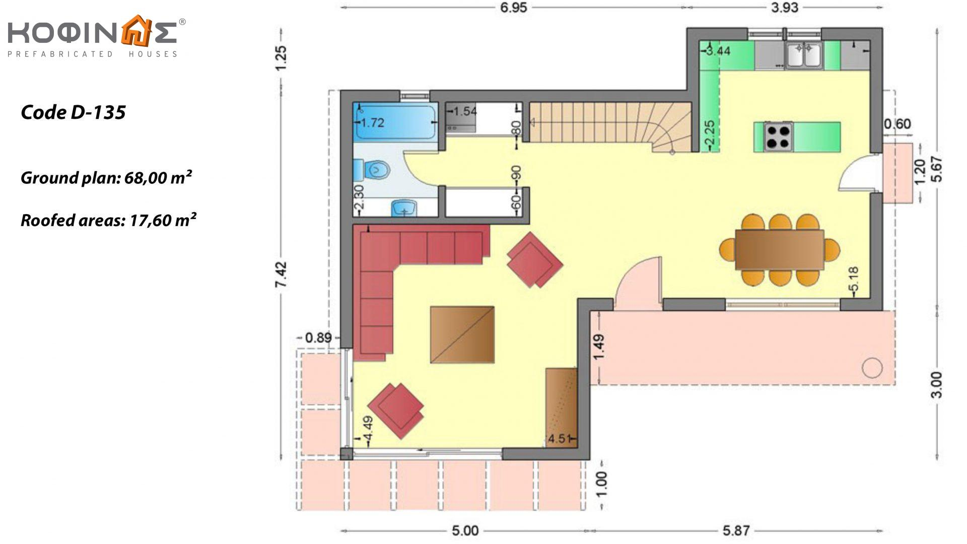 2-story house D-135, total surface of 135,20 m²,roofed areas 17.60 m²,balconies 12.41 m²
