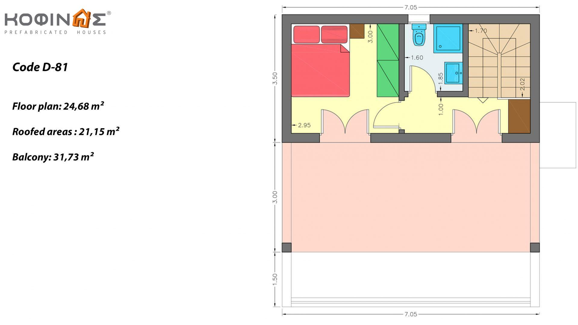 2-story house D-81, total surface of 81,08 m²,roofed areas 22.95 m²,balconies 31.73 m²