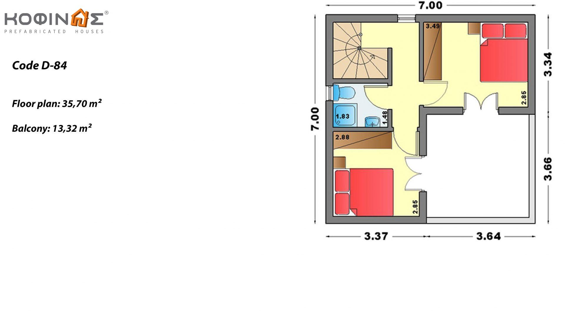 2-story house D-84, total surface of 84,70 m² ,roofed areas 18.90 m²,balconies 13.32 m²