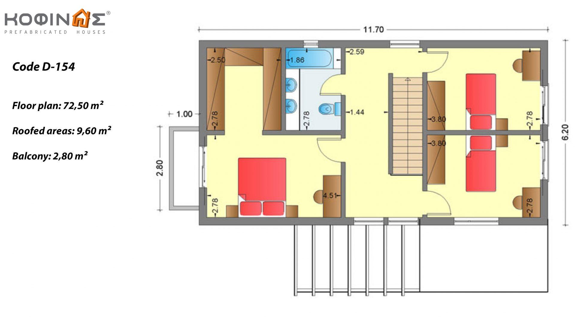 2-story house D-154, total surface of 154,70 m²,roofed areas 18.15 m²,balconies 2.80 m²