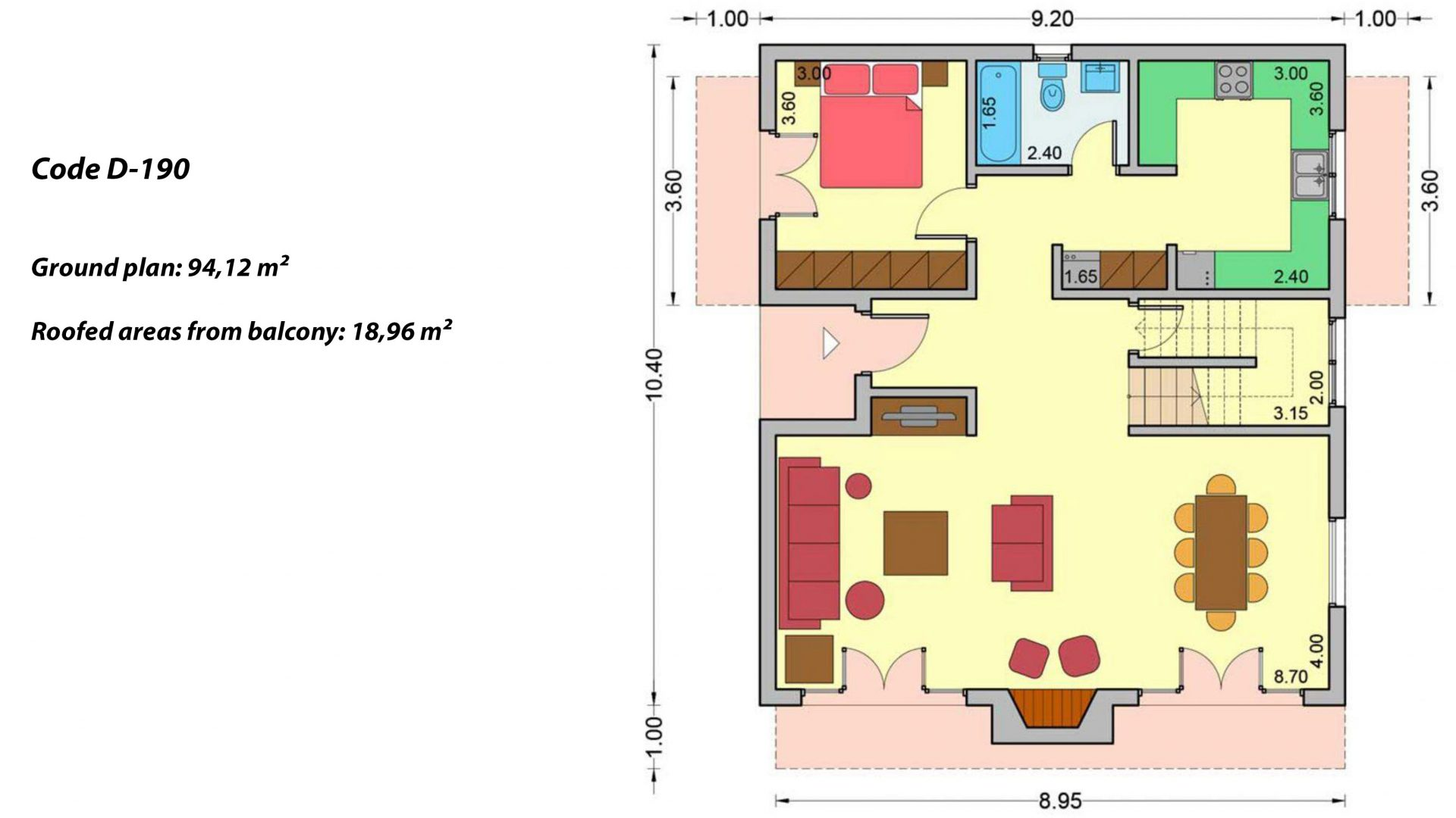 2-story house D-190, total surface of 190,94 m² ,roofed areas 25.02 m²,balconies 18.96 m²