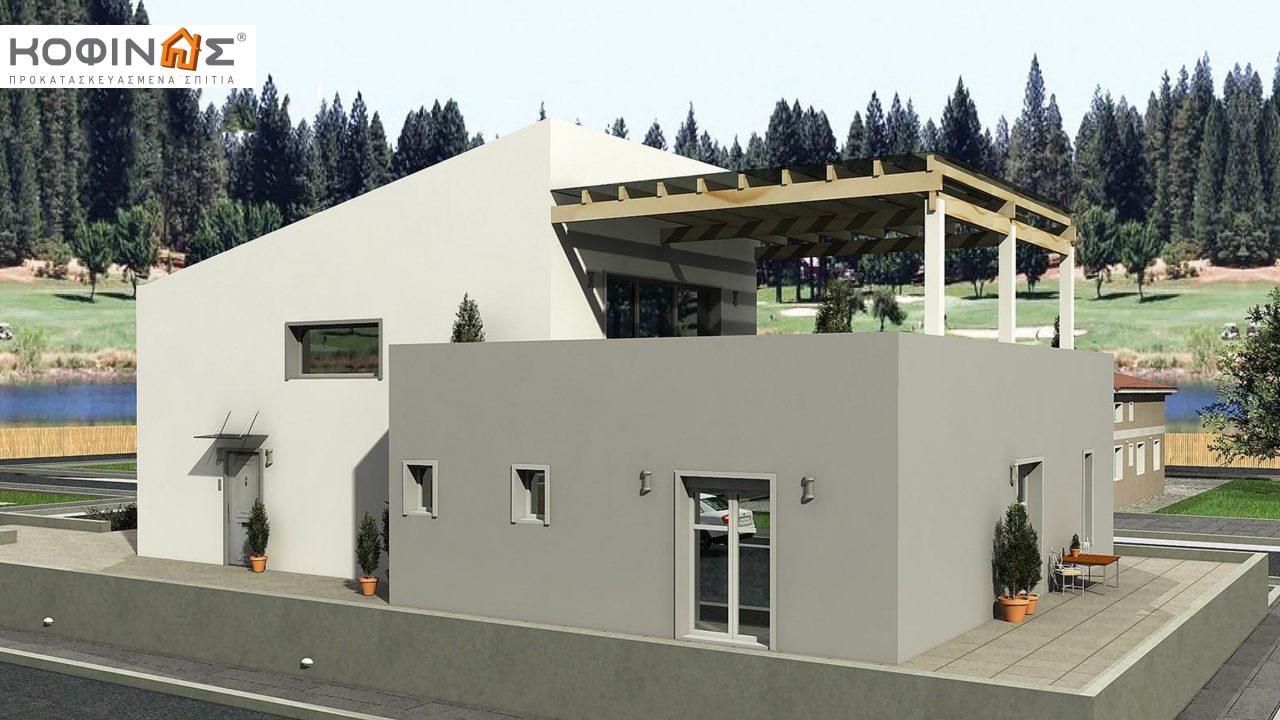 Διώροφη Κατοικία D-206, συνολικής επιφάνειας 206,30 τ.μ., συνολική επιφάνεια στεγασμένων χώρων 58.91 τ.μ., μπαλκόνια 93.55 τ.μ.2