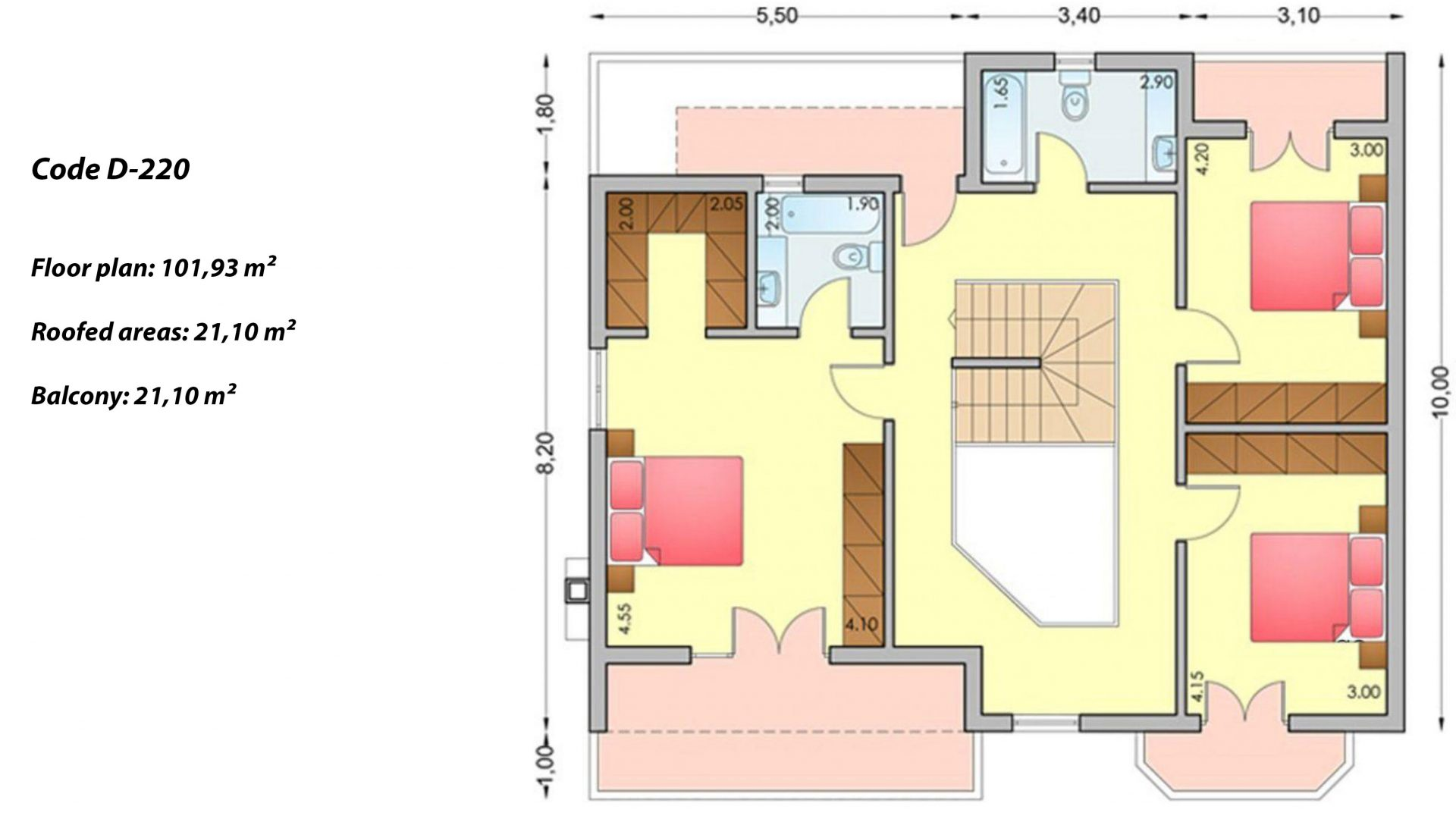 2-story house D-220, total surface of 220,70 m² ,roofed areas 48.40 m²,balconies 21.10 m²