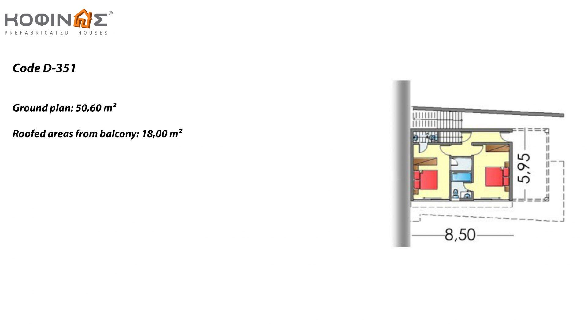 2-story house D-351, total surface of 351,80 m² , +Garage 61.75 m²(=413.55 m²),roofed areas 57.6 m²,balconies 26.00 m²