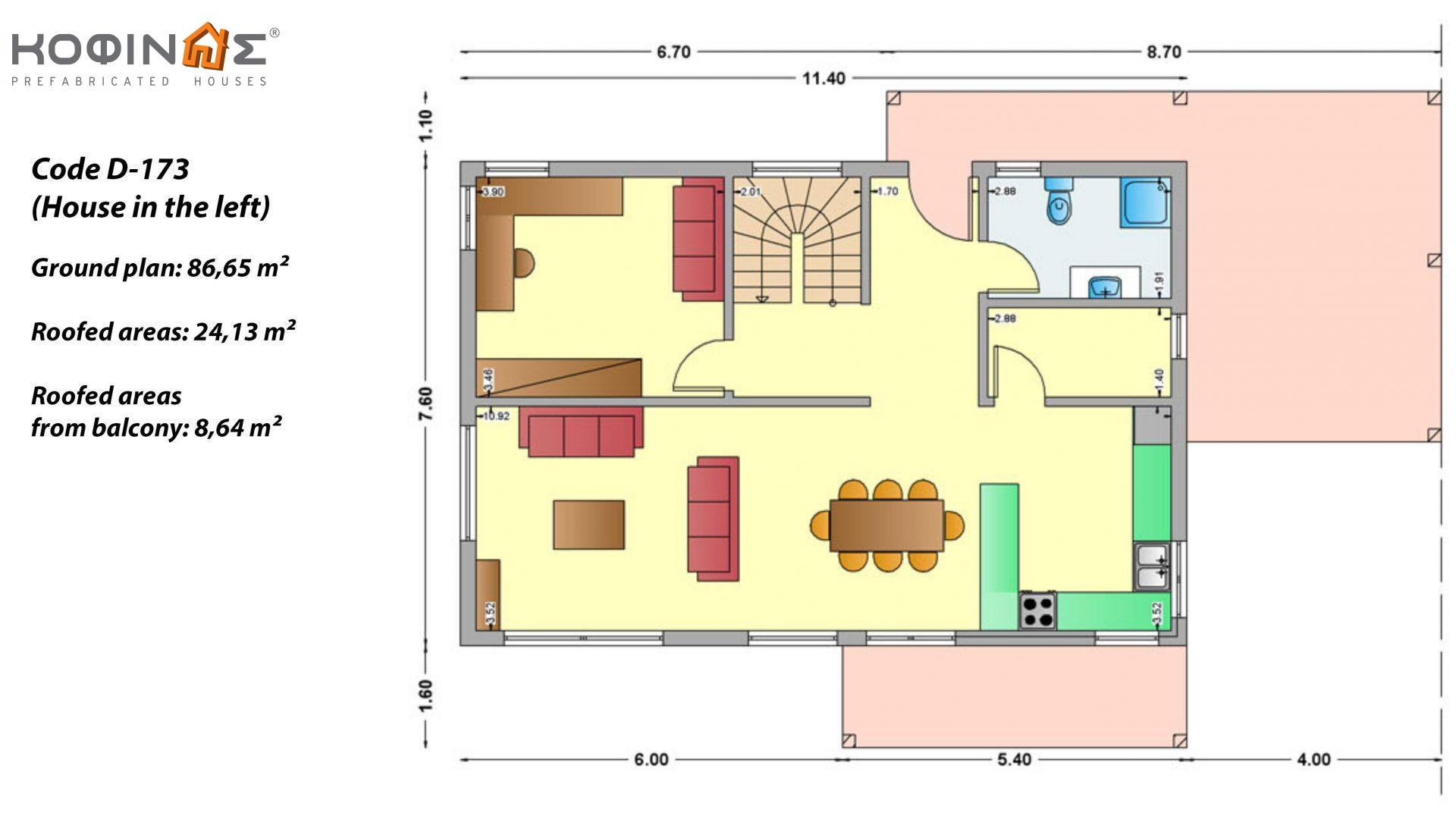 2-story house D-173, total surface of 173,30 m²,roofed areas 32.77 m²,balconies 8.64 m²