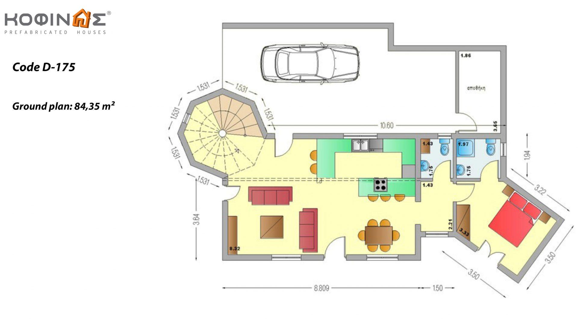 2-story house D-175, total surface of 175,00 m²,balconies 43.15 m²
