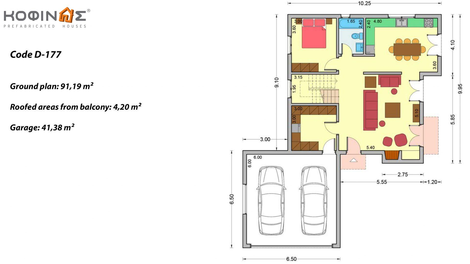 2-story house D-177, total surface of 177,46 m², +Garage 41.38 m²(=218.84 m²),roofed areas 4.20 m²,balconies 17.04 m²