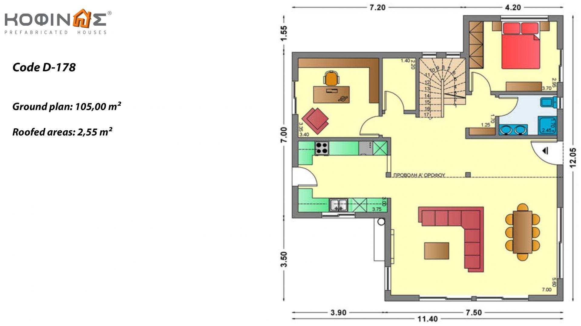 2-story house D-178, total surface of 178,80 m²,roofed areas 40.46 m²,balconies 37.91 m²