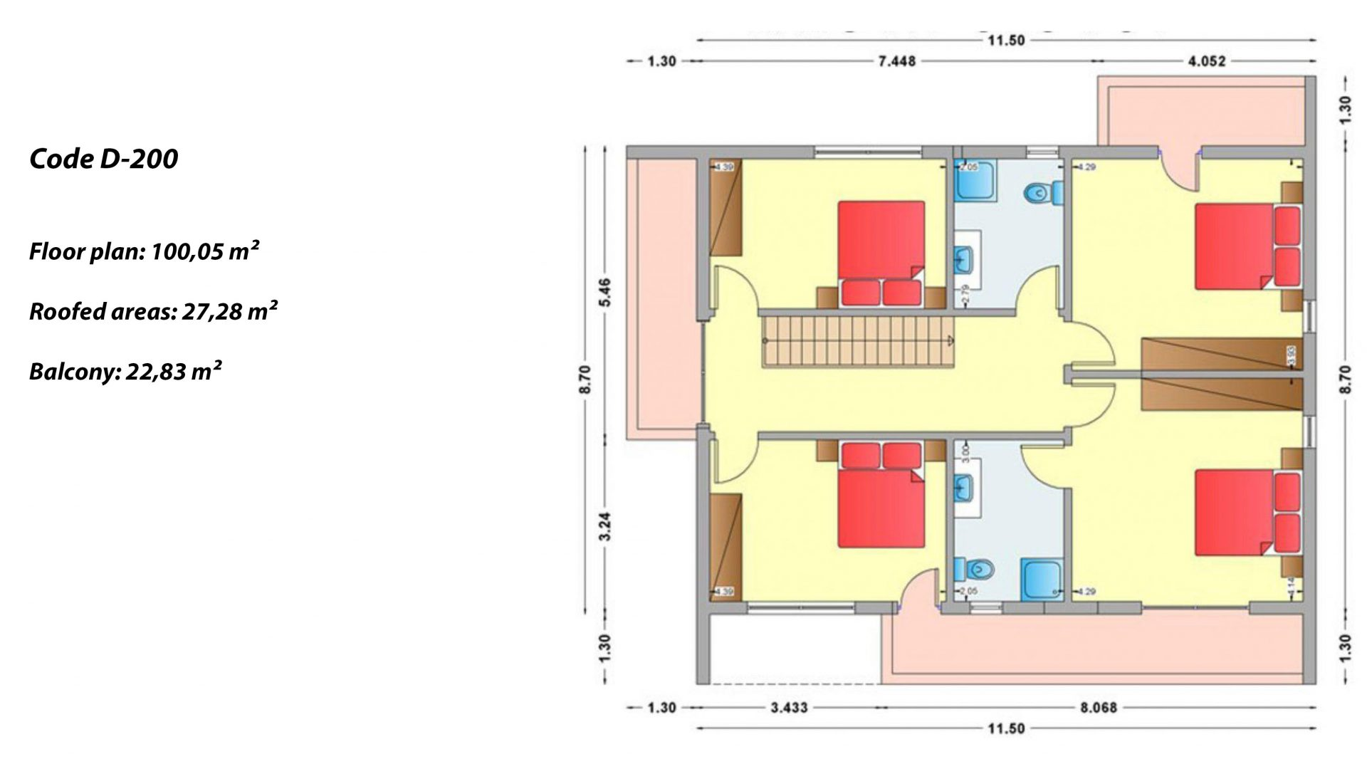 2-story house D-200, total surface of 200,10 m² ,roofed areas 50.11 m²,balconies 22.83 m²