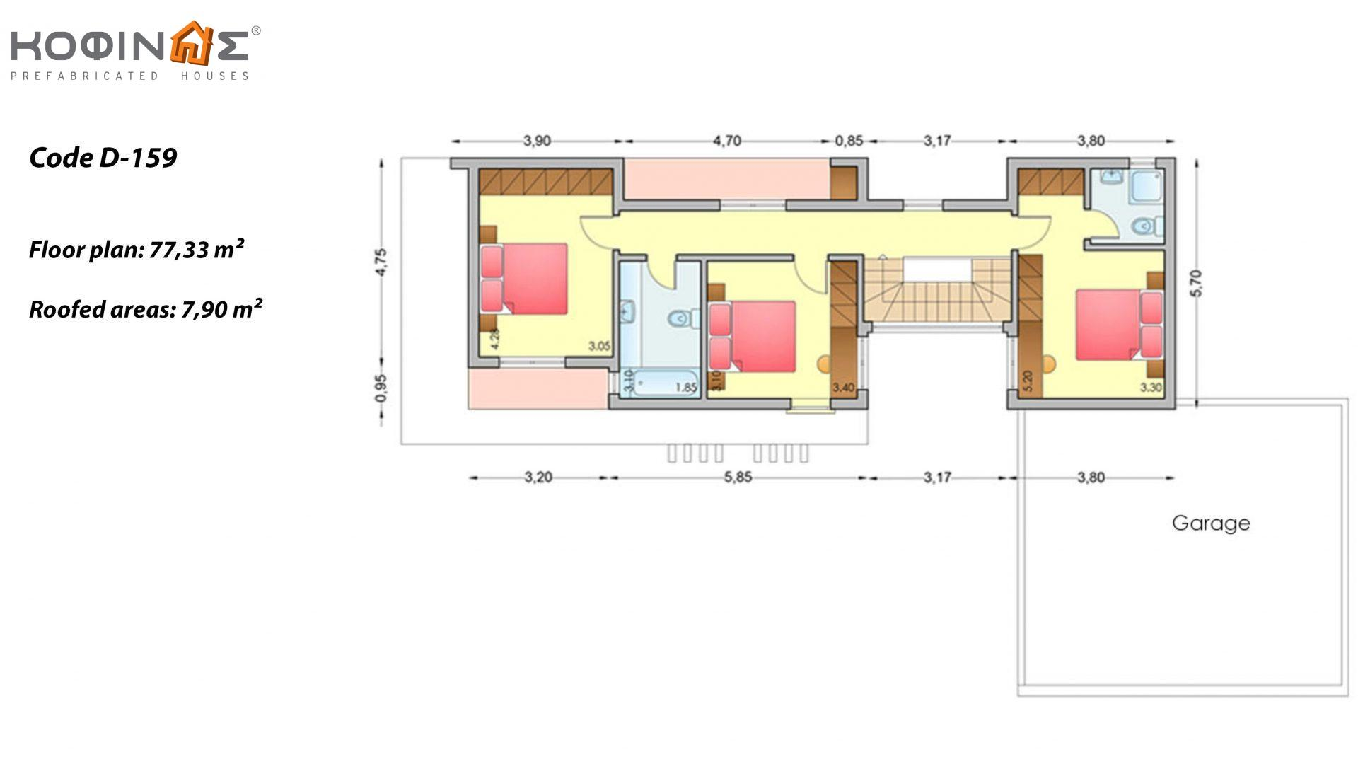 2-story house D-159, total surface of 159,96 m²,+Garage 34.44 m²(=194,40 m²),roofed areas 34.32 m²