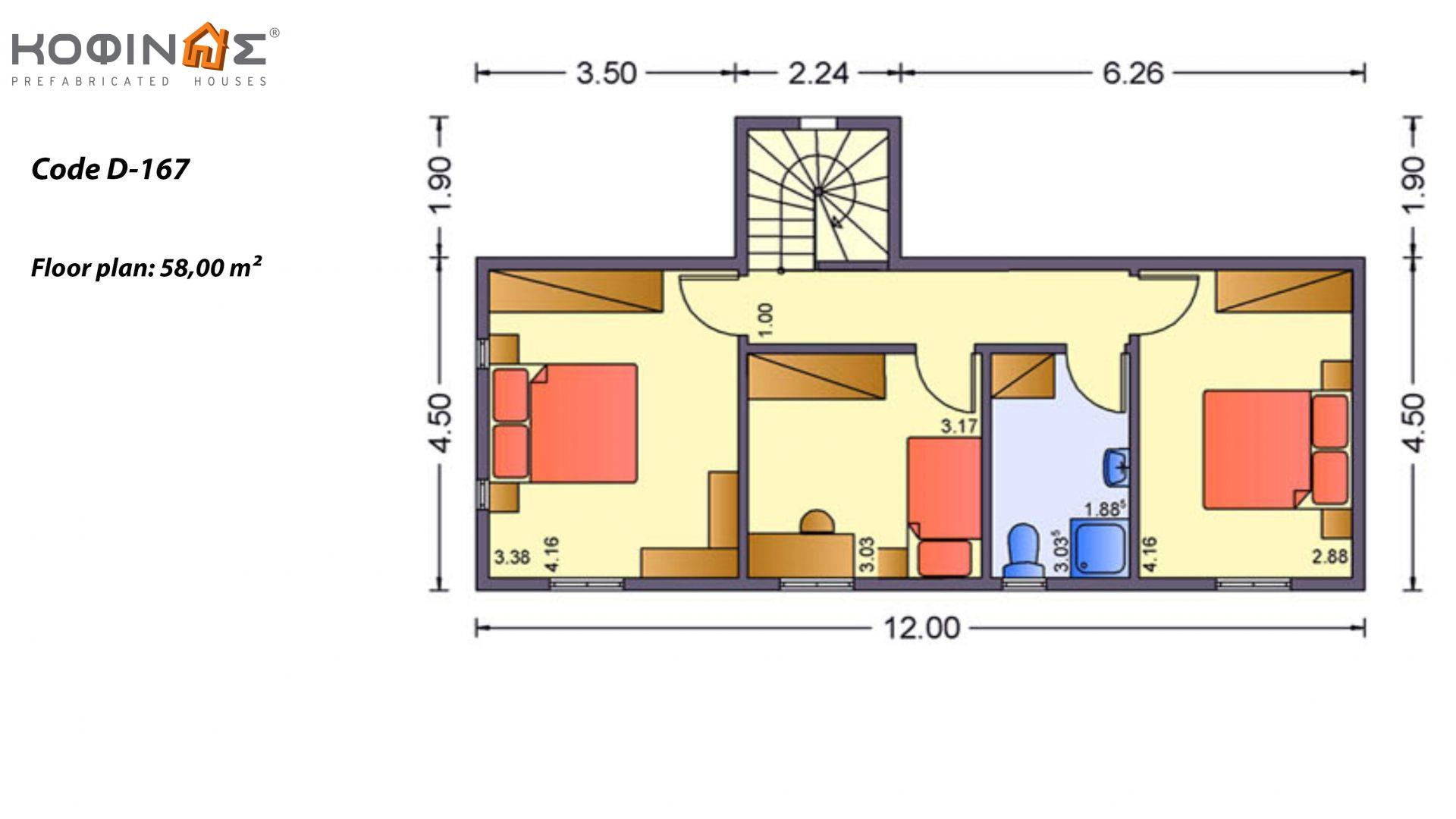 2-story house D-167, total surface of 167,00 m²,roofed areas 15.10 m²