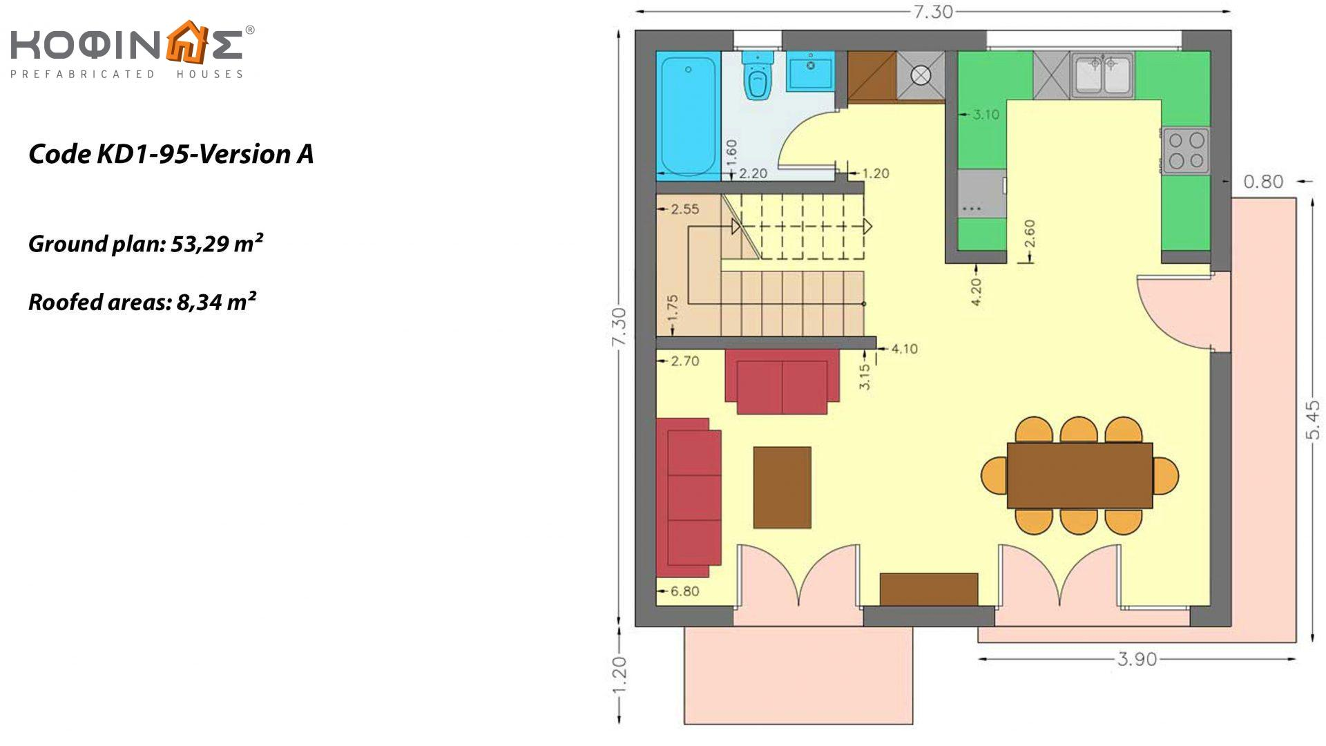 2-story house KD1-95, total surface of 95,70 m²,roofed areas 19.23 m²,balconies 10.89 m²