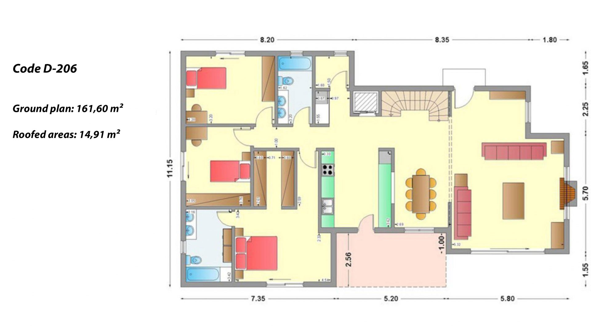 2-story house D-206, total surface of 206,30 m² ,roofed areas 58.91 m²,balconies 93.55 m²