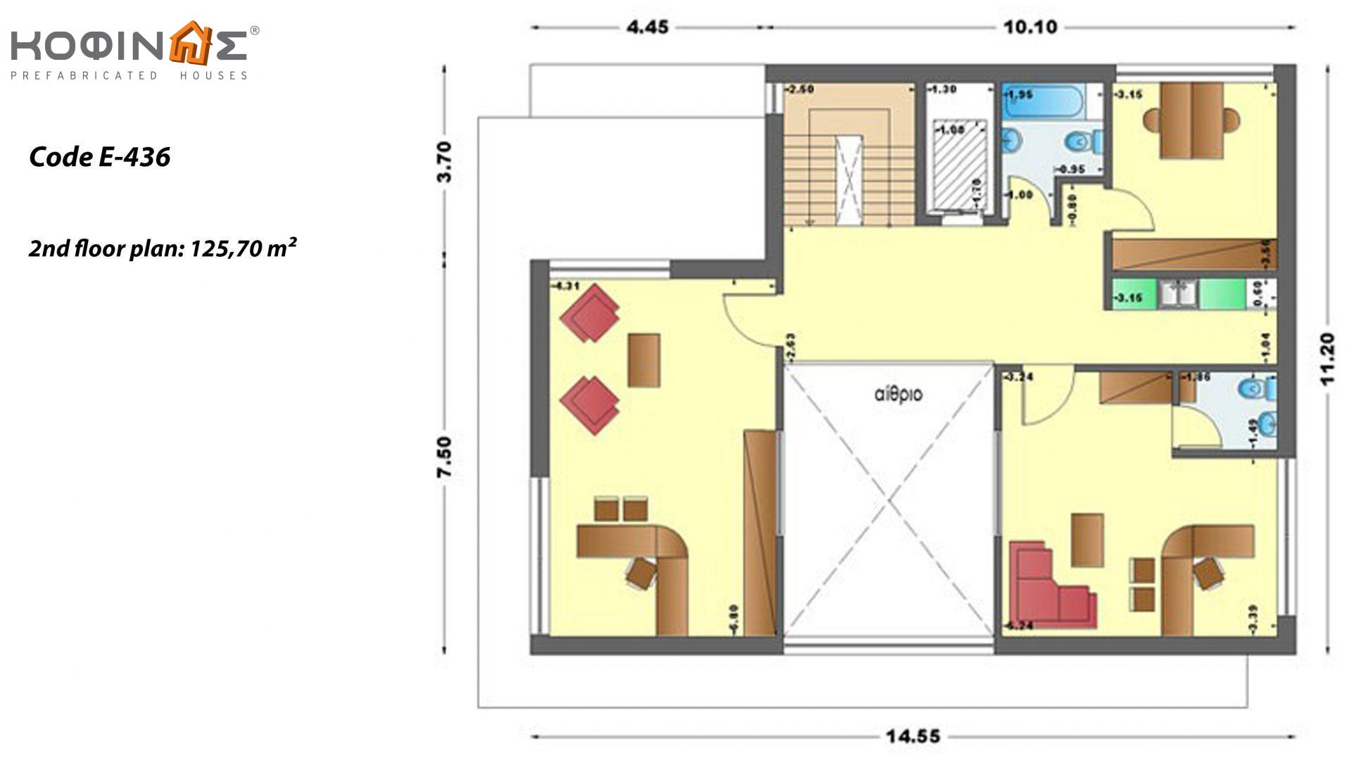 3-story office building with attrium E-436, total space of 436,30 m²,roofed areas 27,98 m²