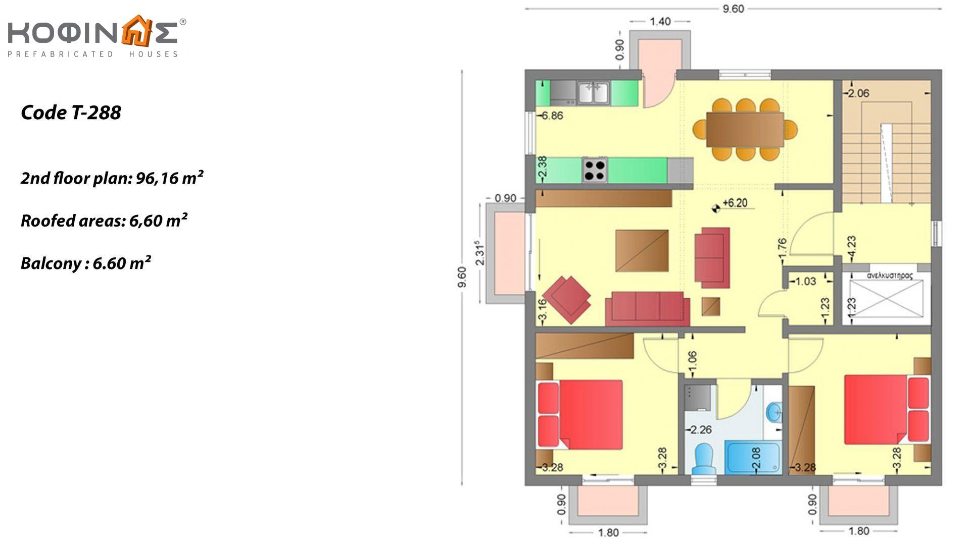 3-story house T-288, total surface of 288,48 m²,roofed areas 13,20 m²,balcony 13.20 m²