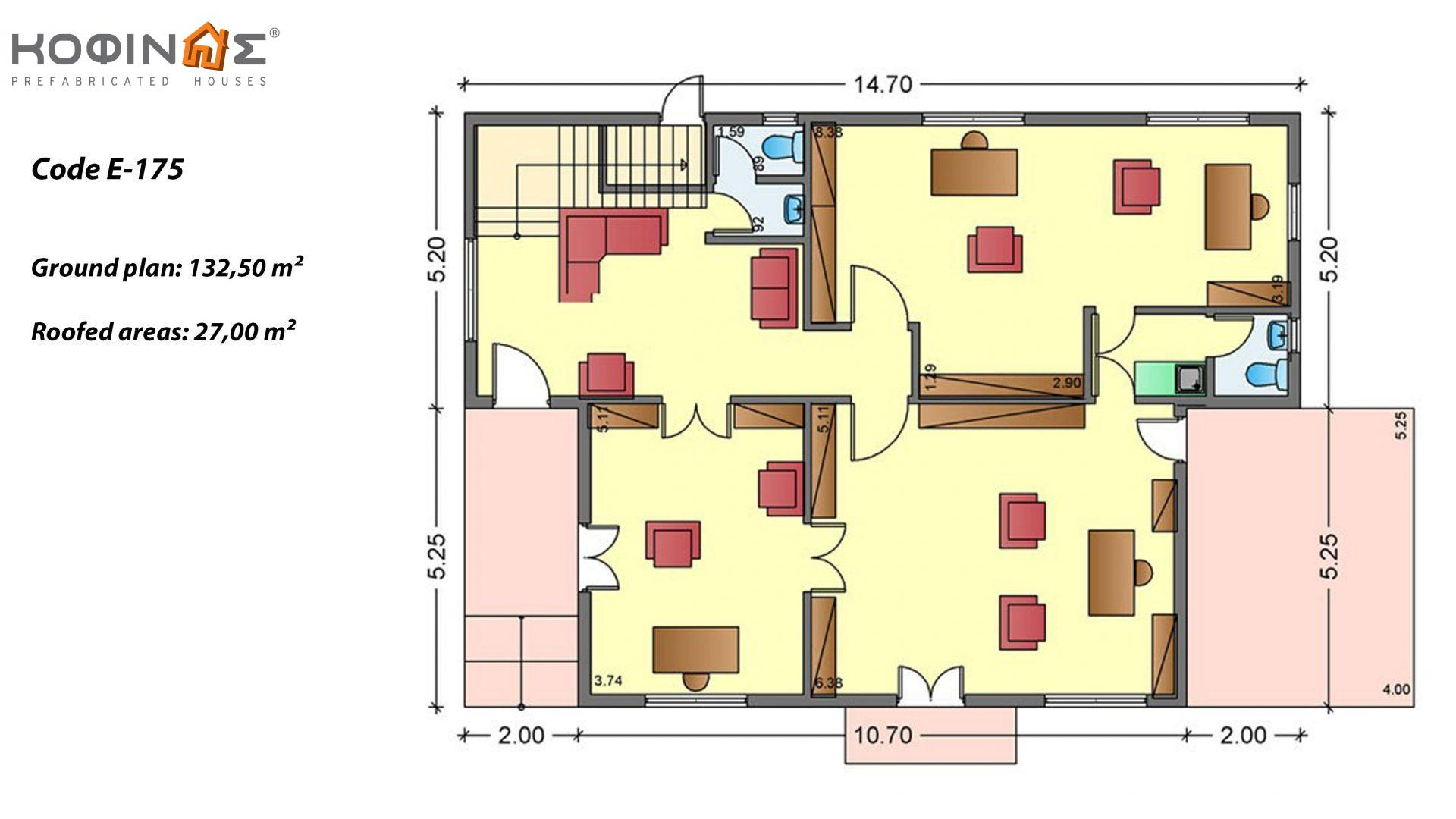 2-story office building E-175, total space of 175,50 m² ,roofed areas 27.00 m², balcony 10.40 m²
