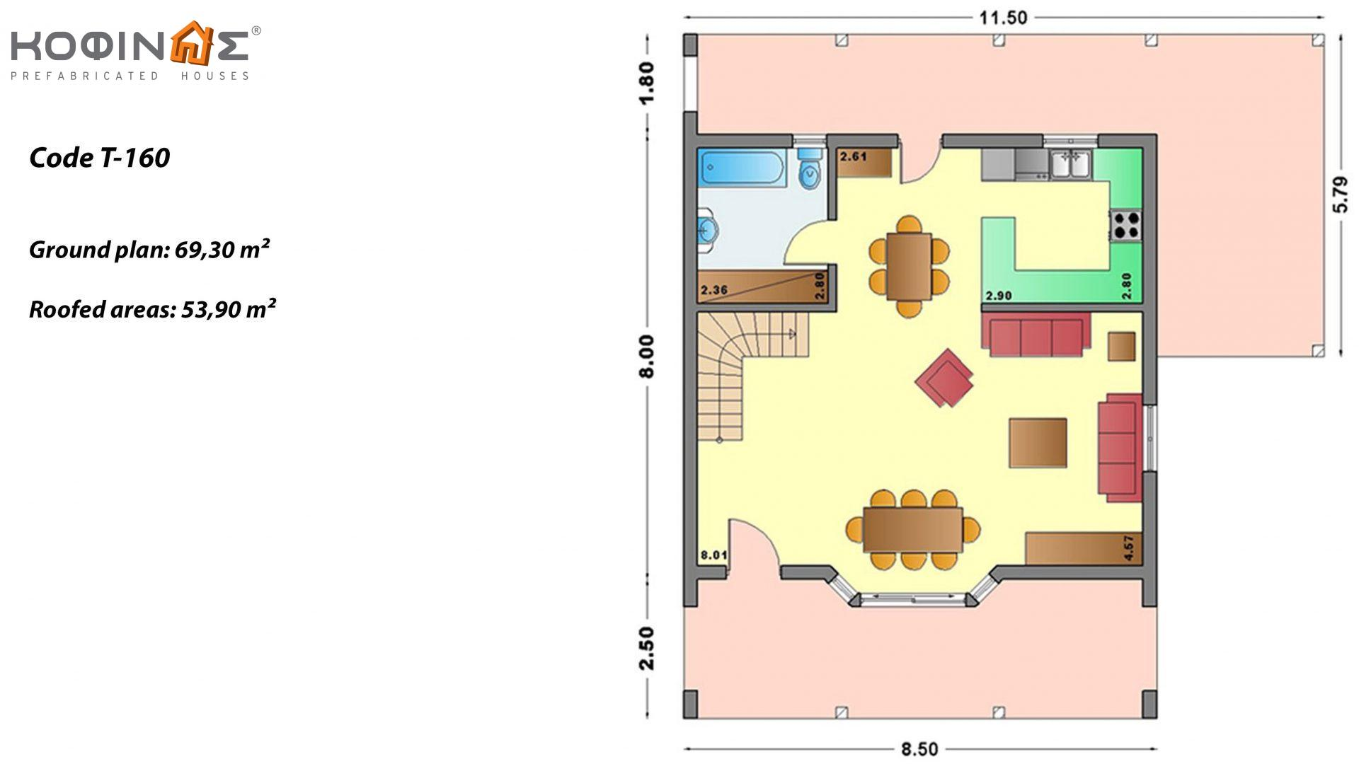 3-story house T-160, total surface of 160,90 m² ,roofed areas 64.10 m²,balcony 10.20 m²