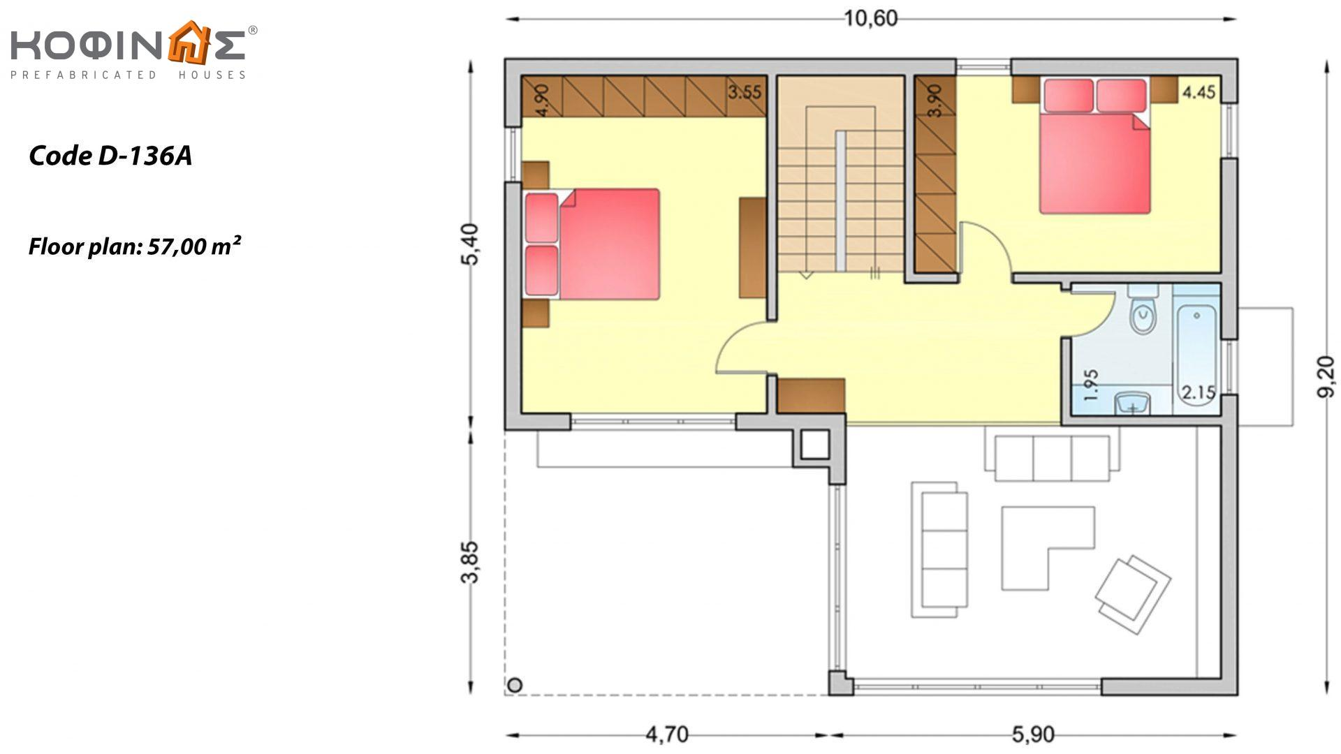 2-story house D-136a, total surface of 136,72 m²,roofed areas 19.40 m²