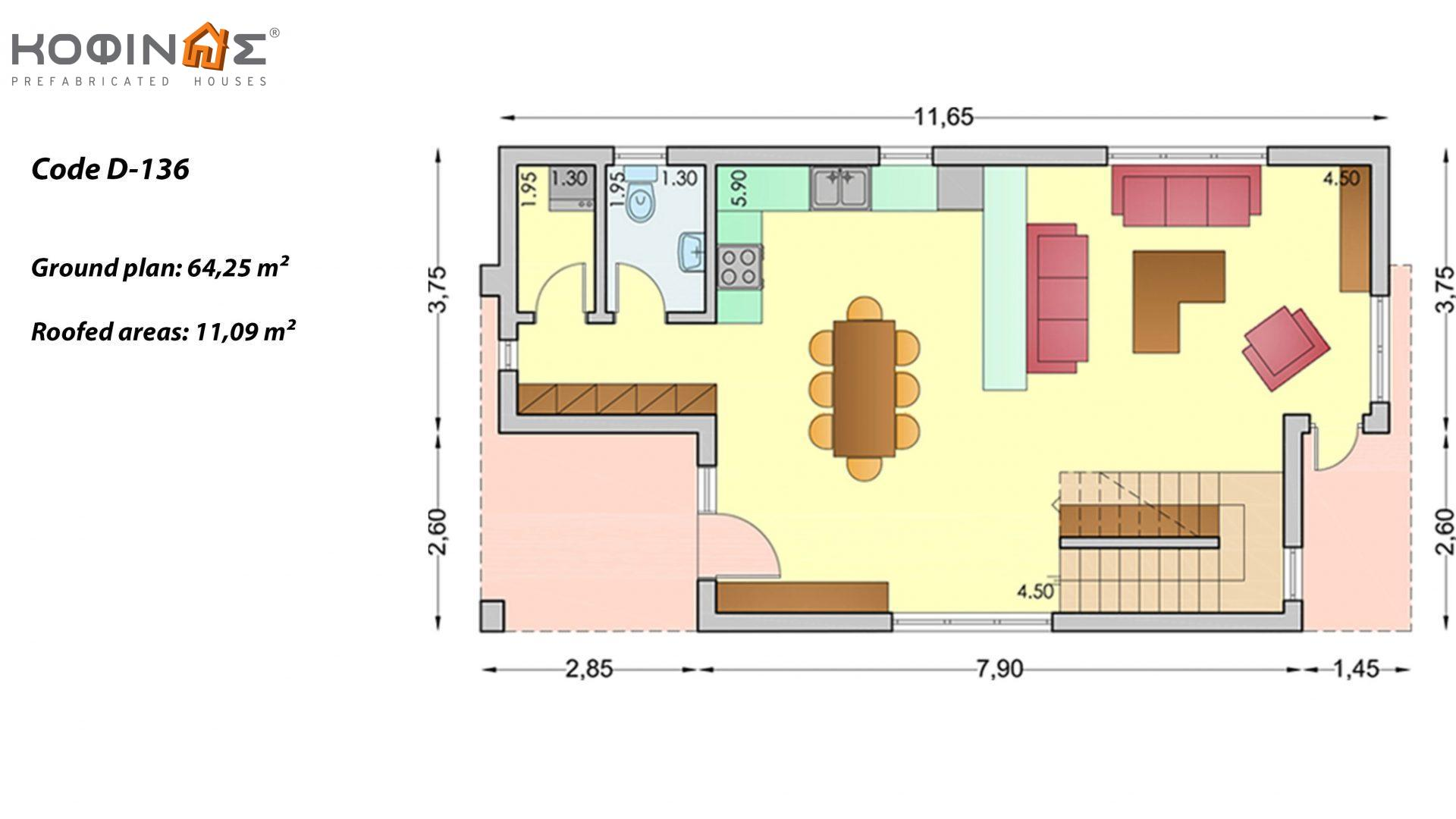2-story house D-136, total surface of 136,39 m²,roofed areas 14.8 m²