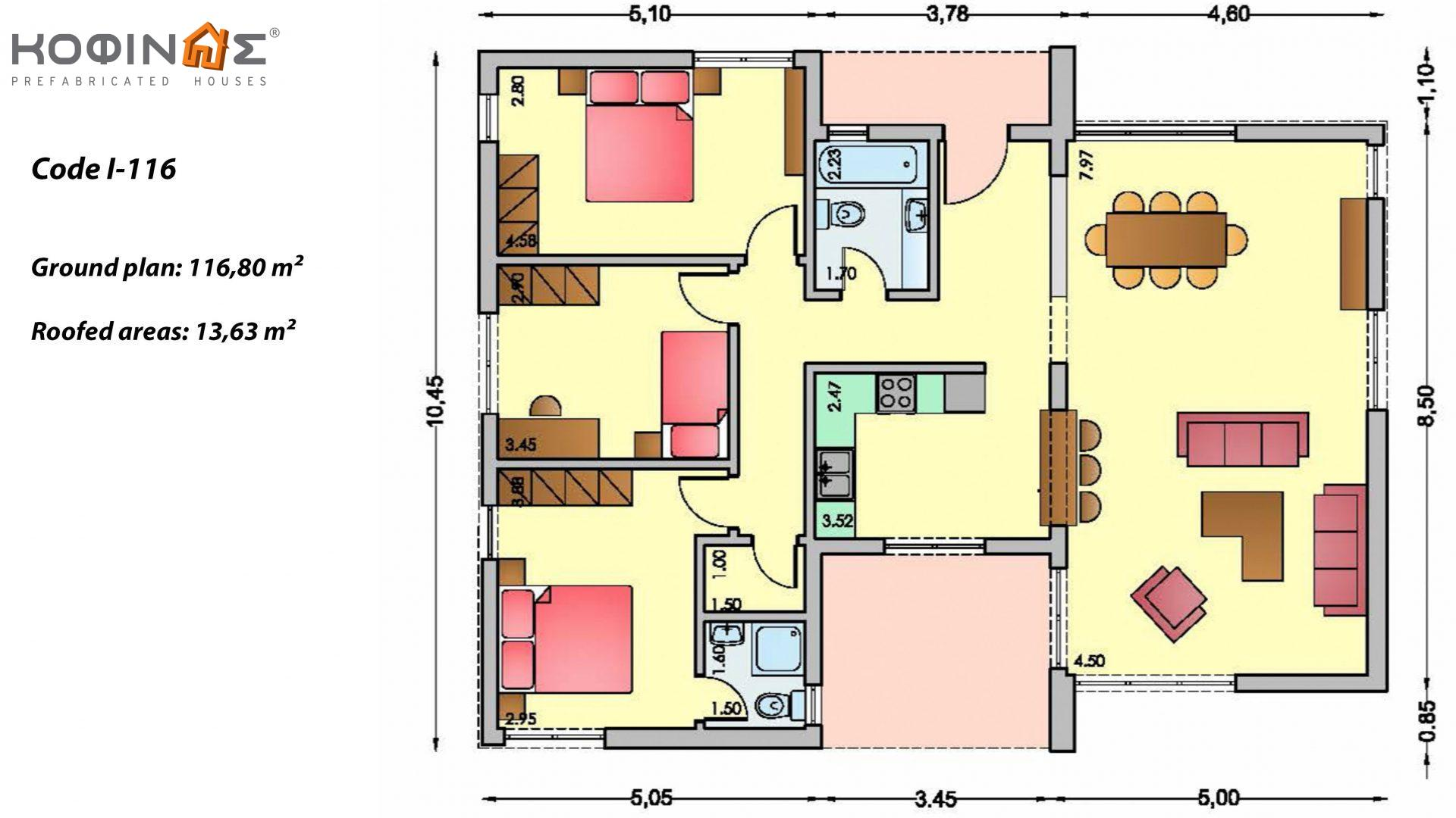 1-story house I-116, total surface of 116,80 m², roofed areas 13,63 m²