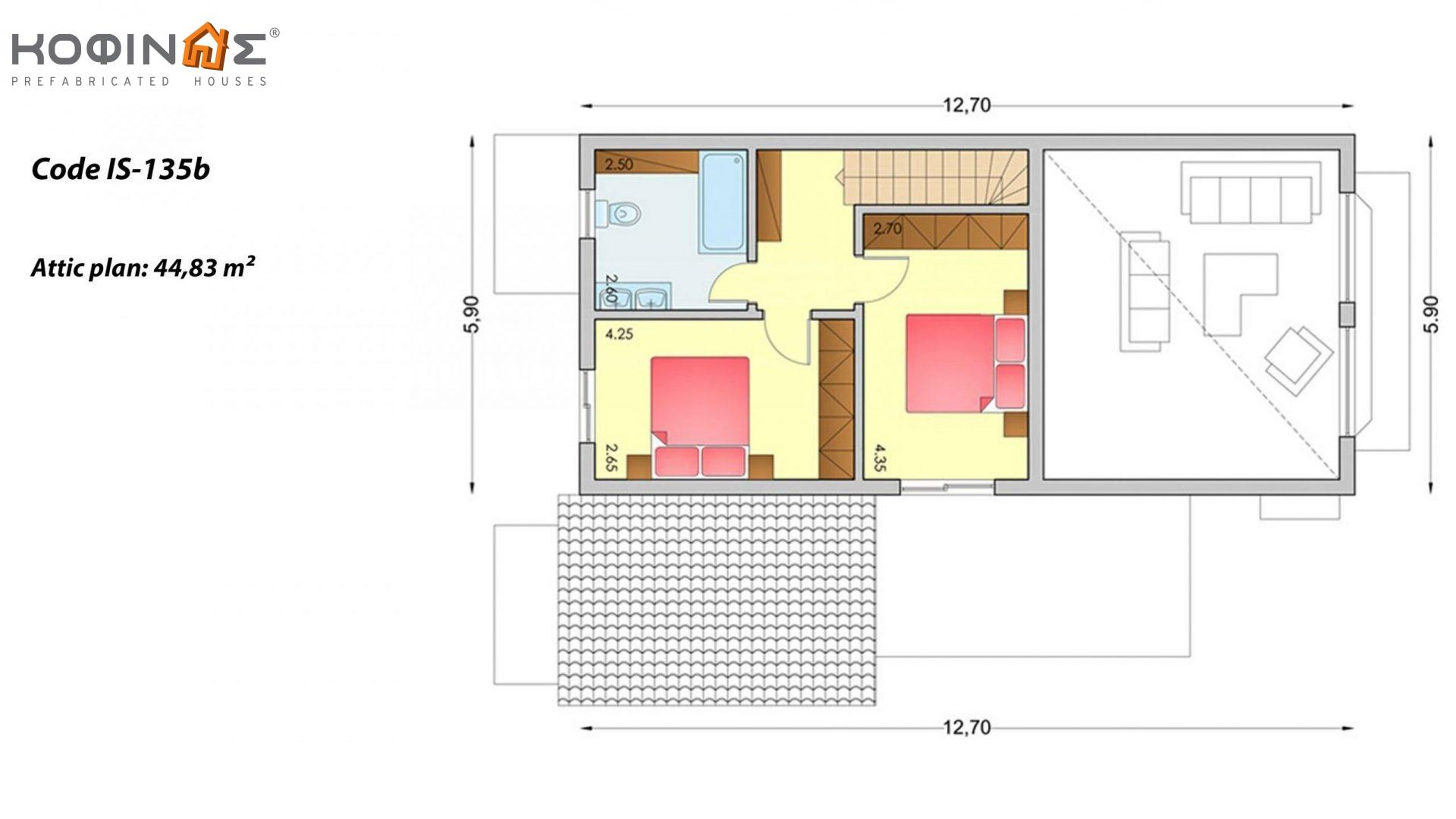 1-story house with attic IS-135b, total surface of 135,25 m² ,roofed areas 26,00 m²