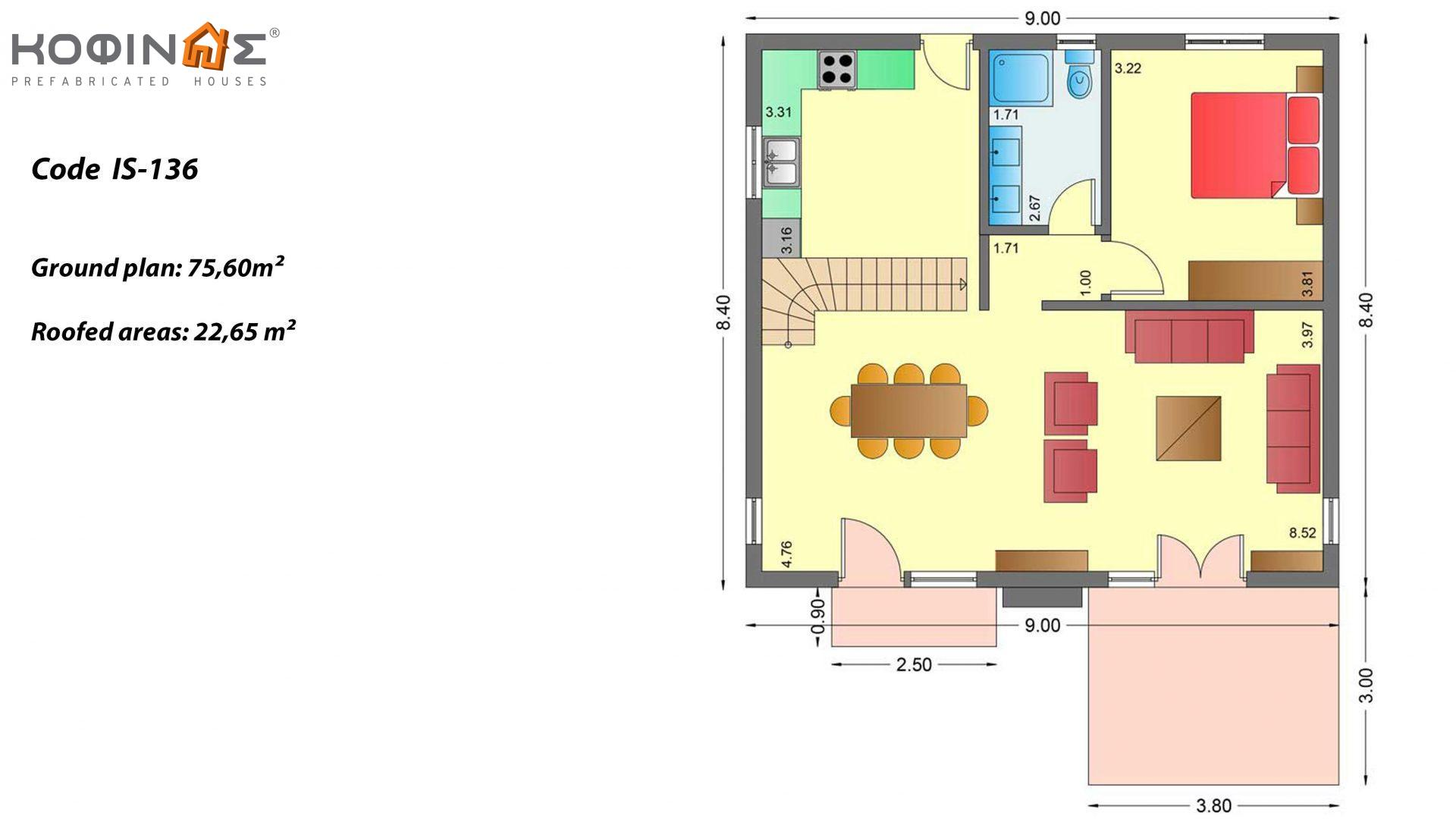 1-story house with attic IS-136, total surface of 136,89 m²,roofed areas 22,65 m²