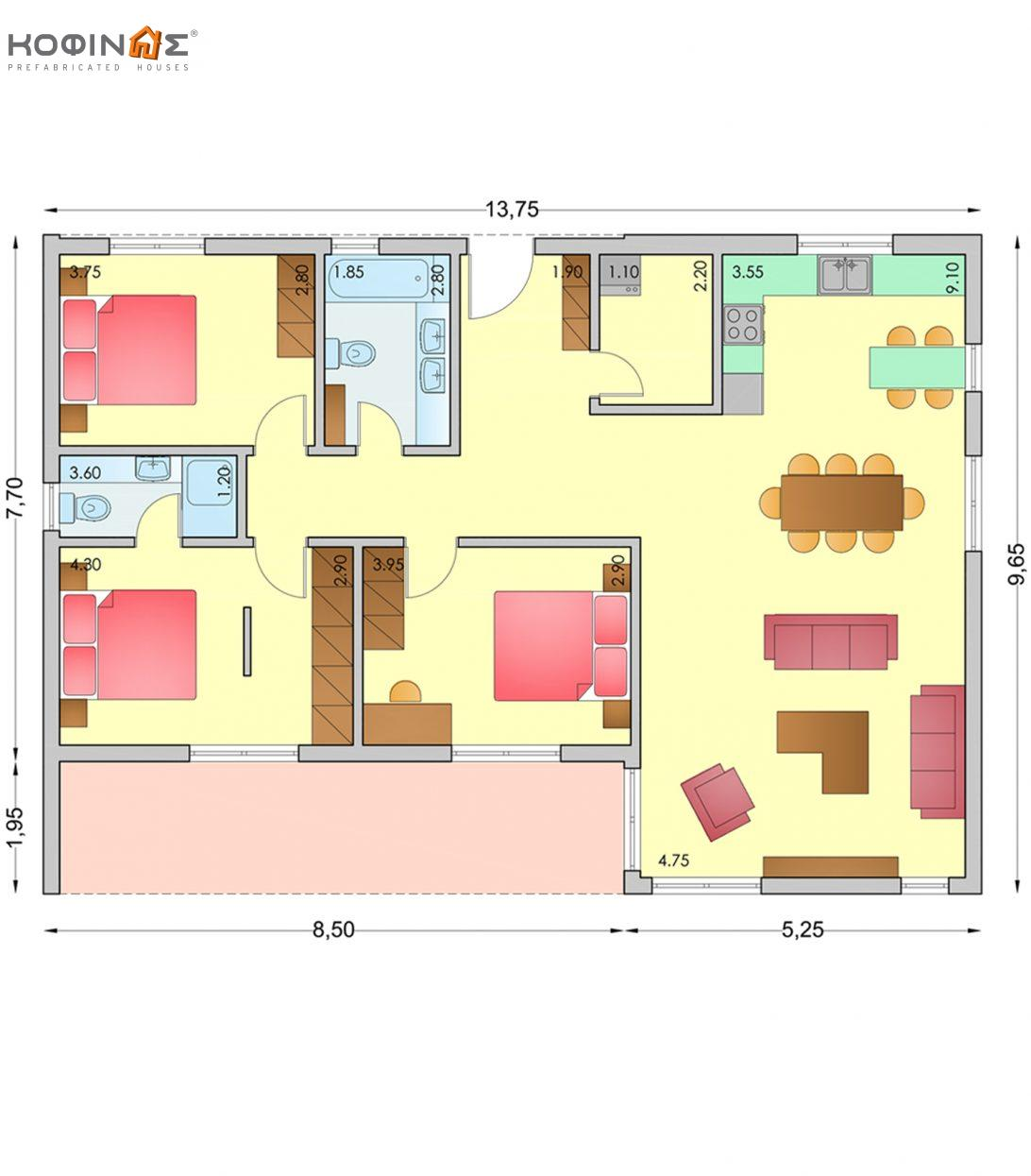1-story house I-116b, total surface of 116,80 m²