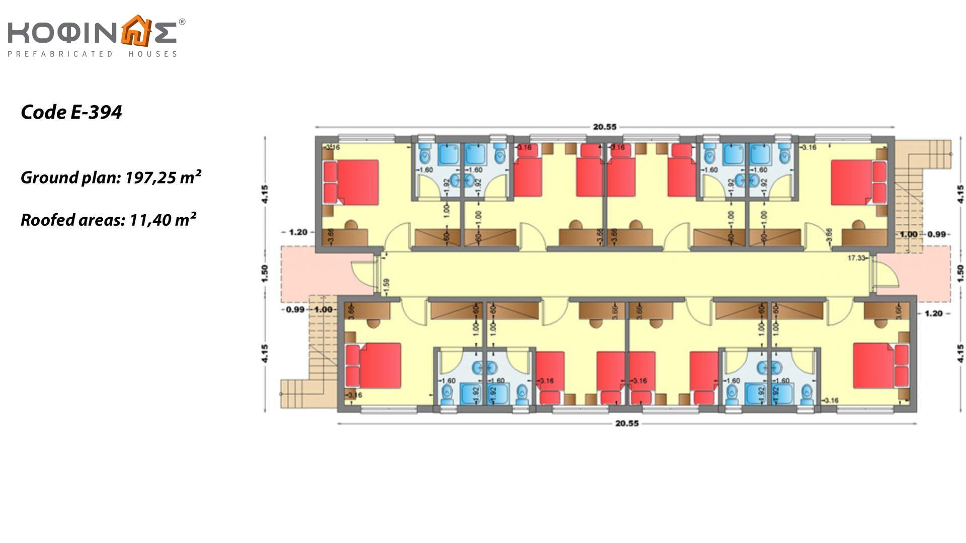 2-story Motel E-394, total space of 394,50 m²,roofed areas 22.80 m²