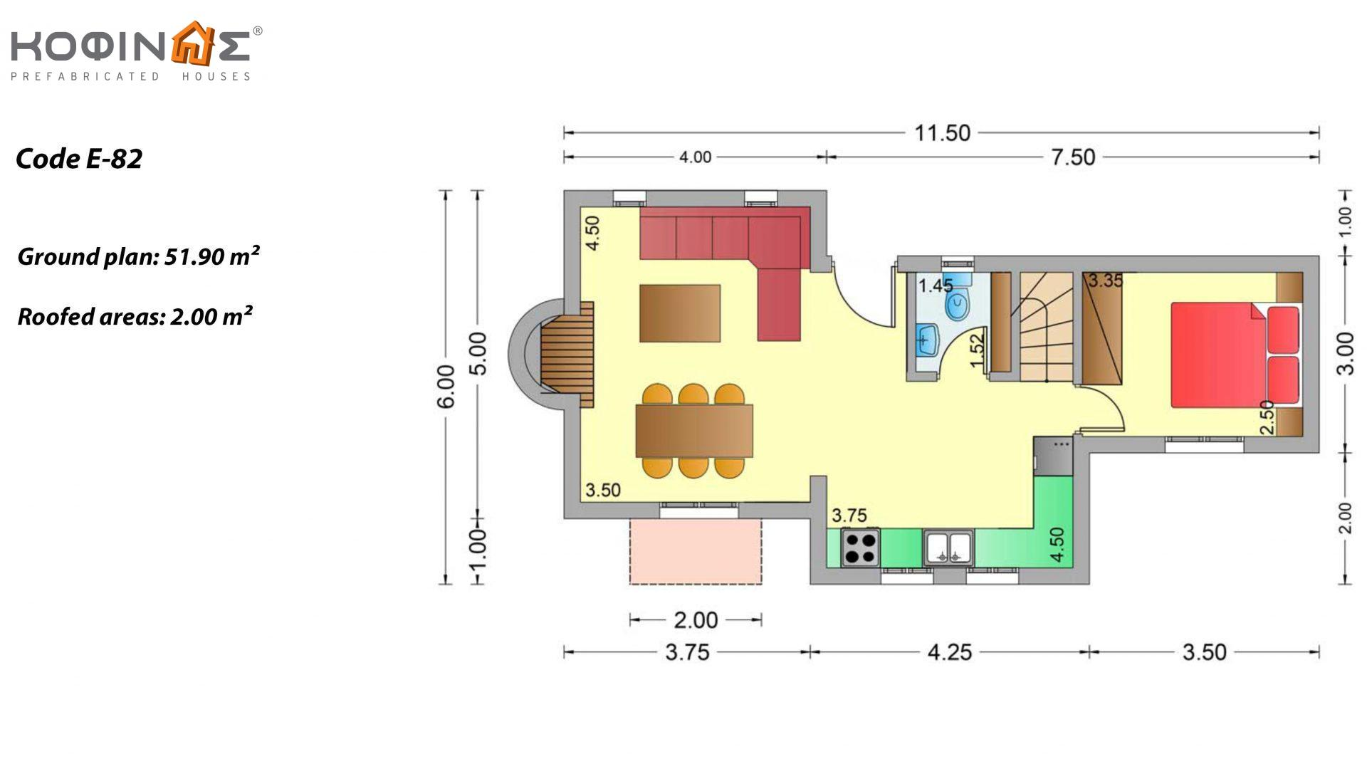 2-story house E-82, total surface of 82,30 m², roofed areas 2.00 m²