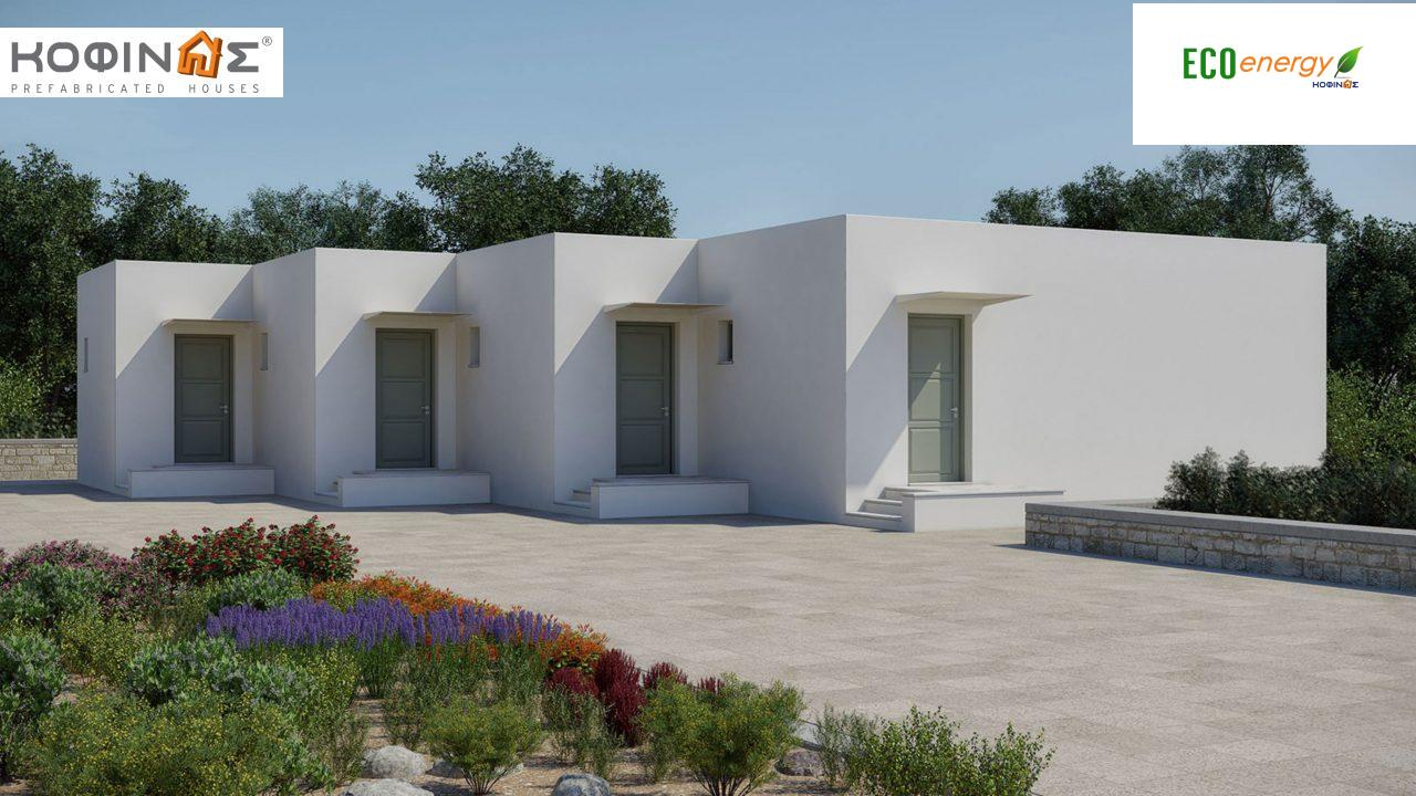 Complex of 1-story houses E-104, total surface of 4 x 25,85 = 103,40 m², roofed areas 36.92 m²0