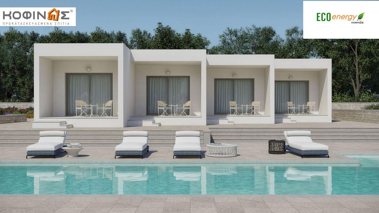 Συγκρότημα Κατοικιών E-104, συνολικής επιφάνειας 4 x 25.85=103.4 τ.μ., συνολική επιφάνεια στεγασμένων χώρων 36.92 m²1