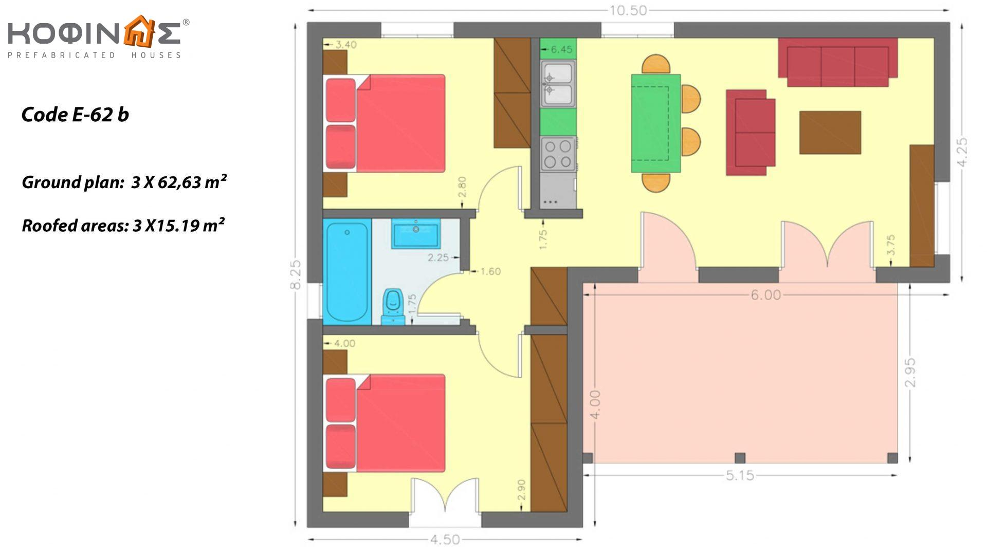 Complex of 1-story houses E-62b, total surface of 3 x 62,63 = 187,89 m², roofed areas 45.57 m²