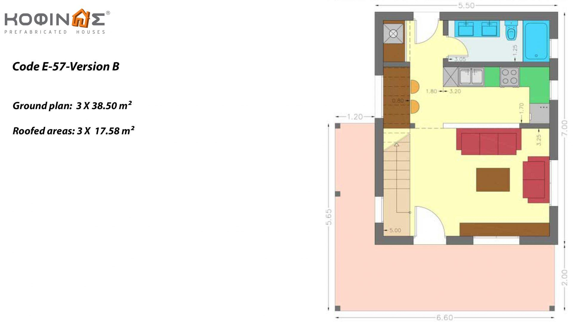Complex of 1-story houses with attics E-57, total surface of 3 x 57,75 = 173,25 m², roofed areas 52.74 m²