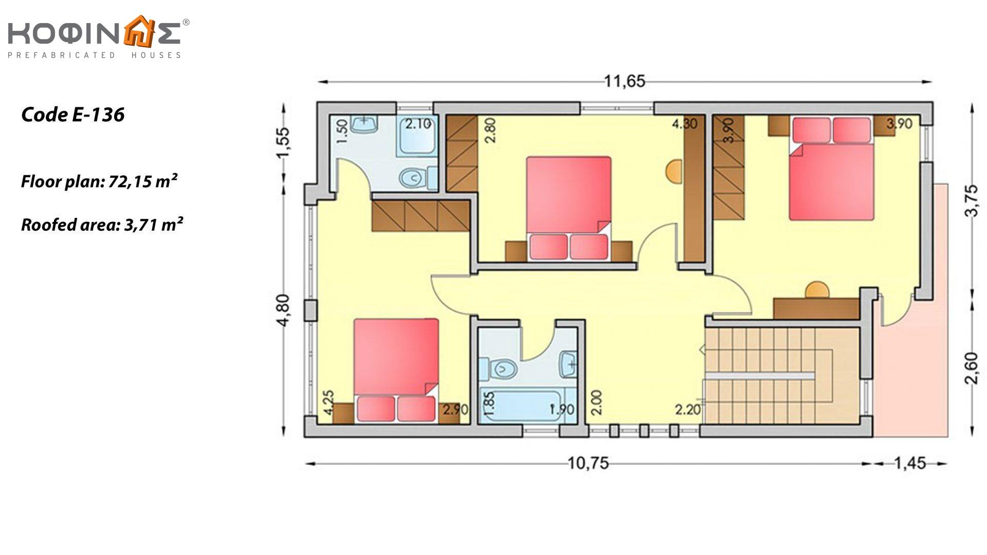 Complex of houses E-136, total surface of 3 x 136,39 = 409,17 m²,roofed areas 14,8 m²