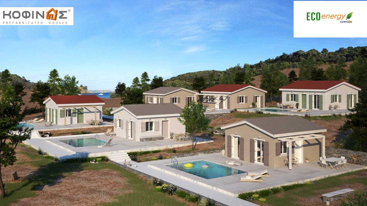 Complex of 1-story houses E-44 / E-66,  total surface of (3 x 44,22) + (3 x 66,42) = 331,92 m²0