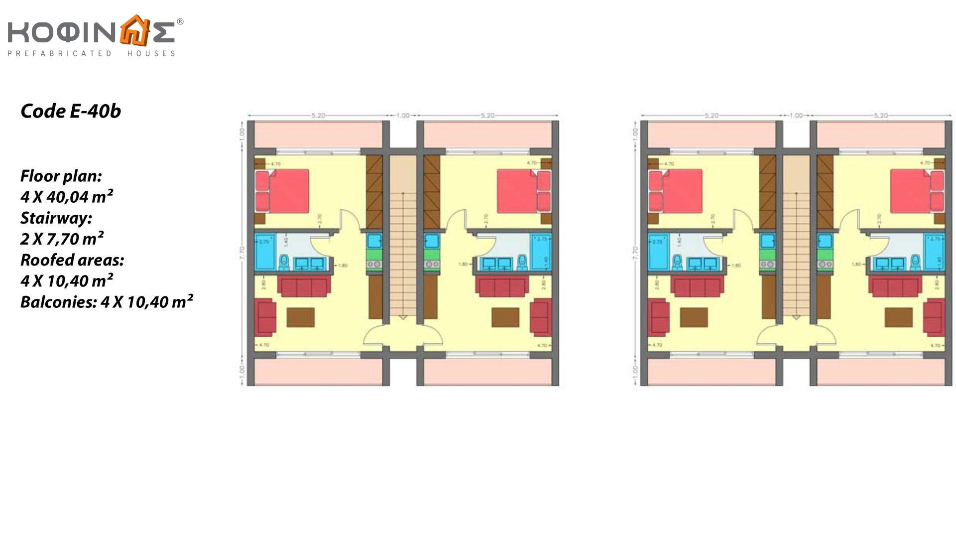 Complex of 2-story houses E-40b, total surface of houses 8×40,04 & staircases 4×7,70 = 351,12 m²,roofed areas 83.20 m²,balcony 41.60 m²